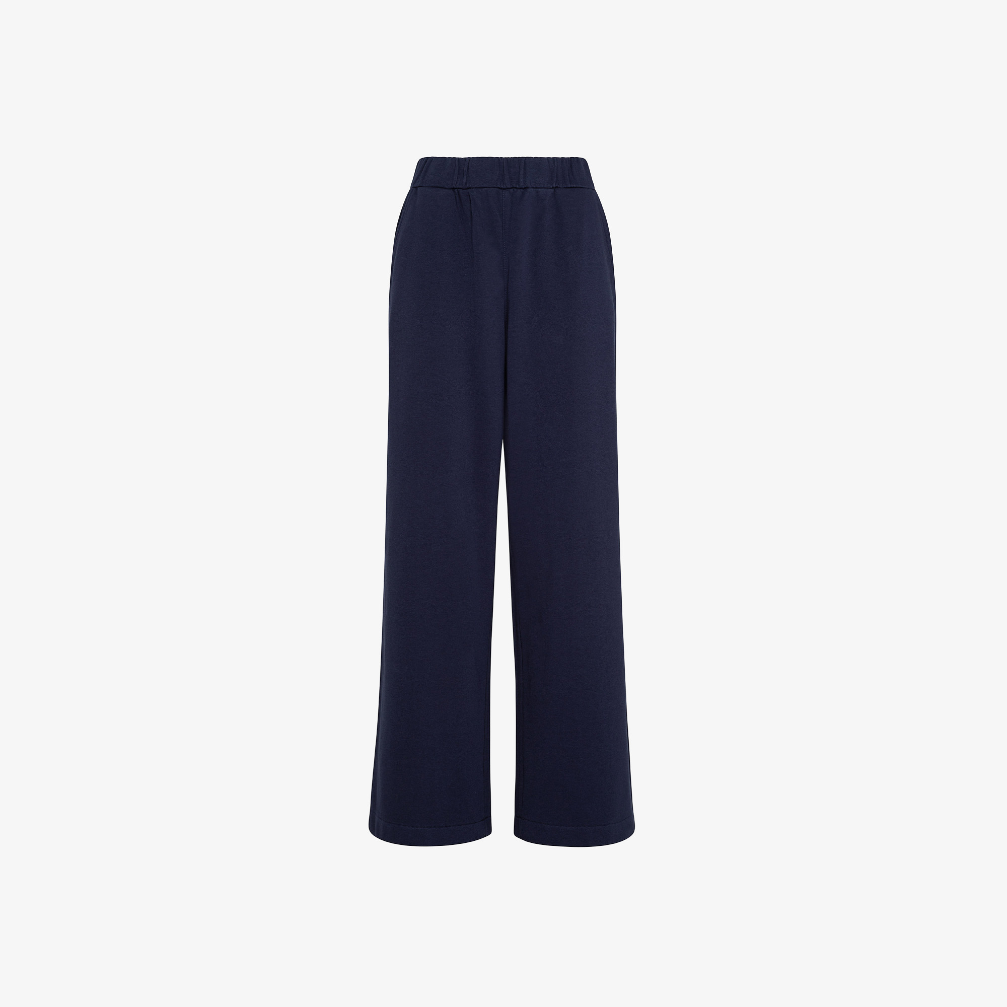 PANT WIDE LEG COTTON FL NAVY BLUE