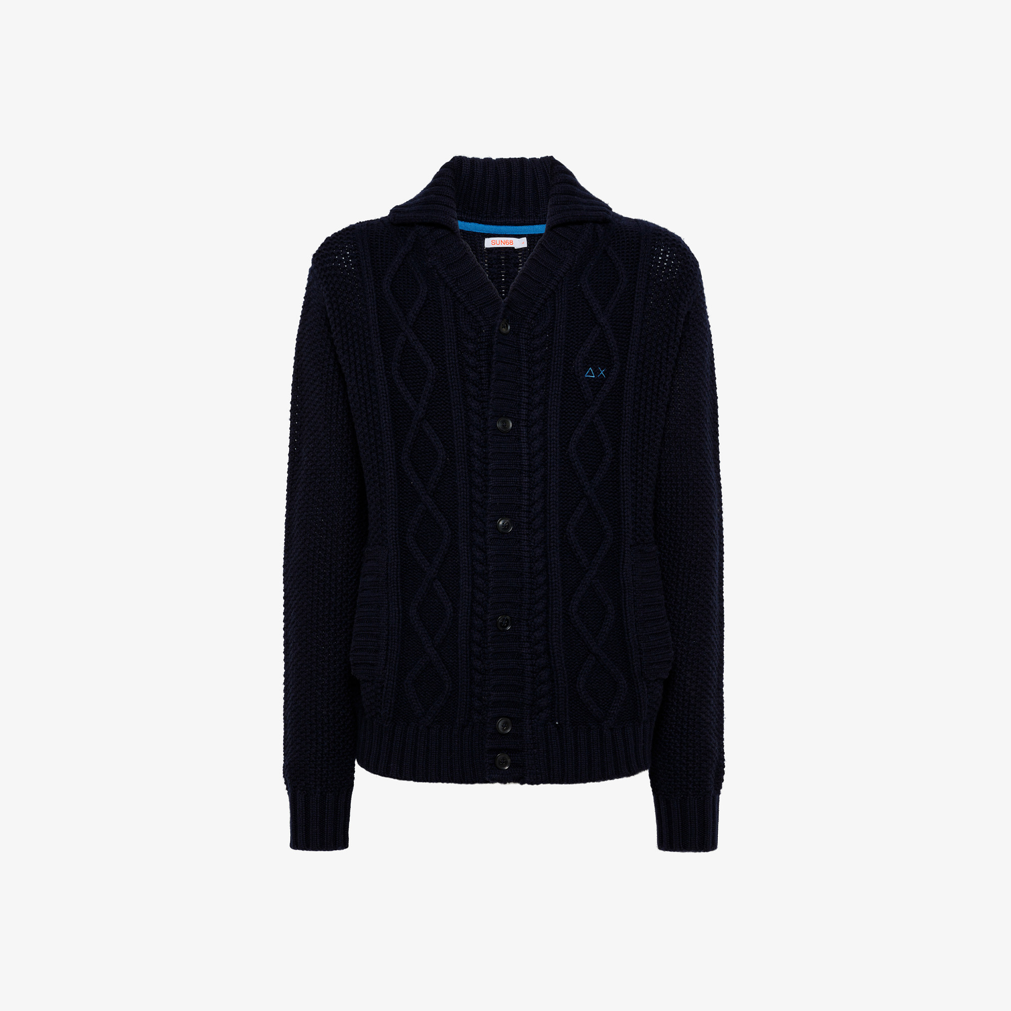 CARDIGAN BUTTON CABLE NAVY BLUE
