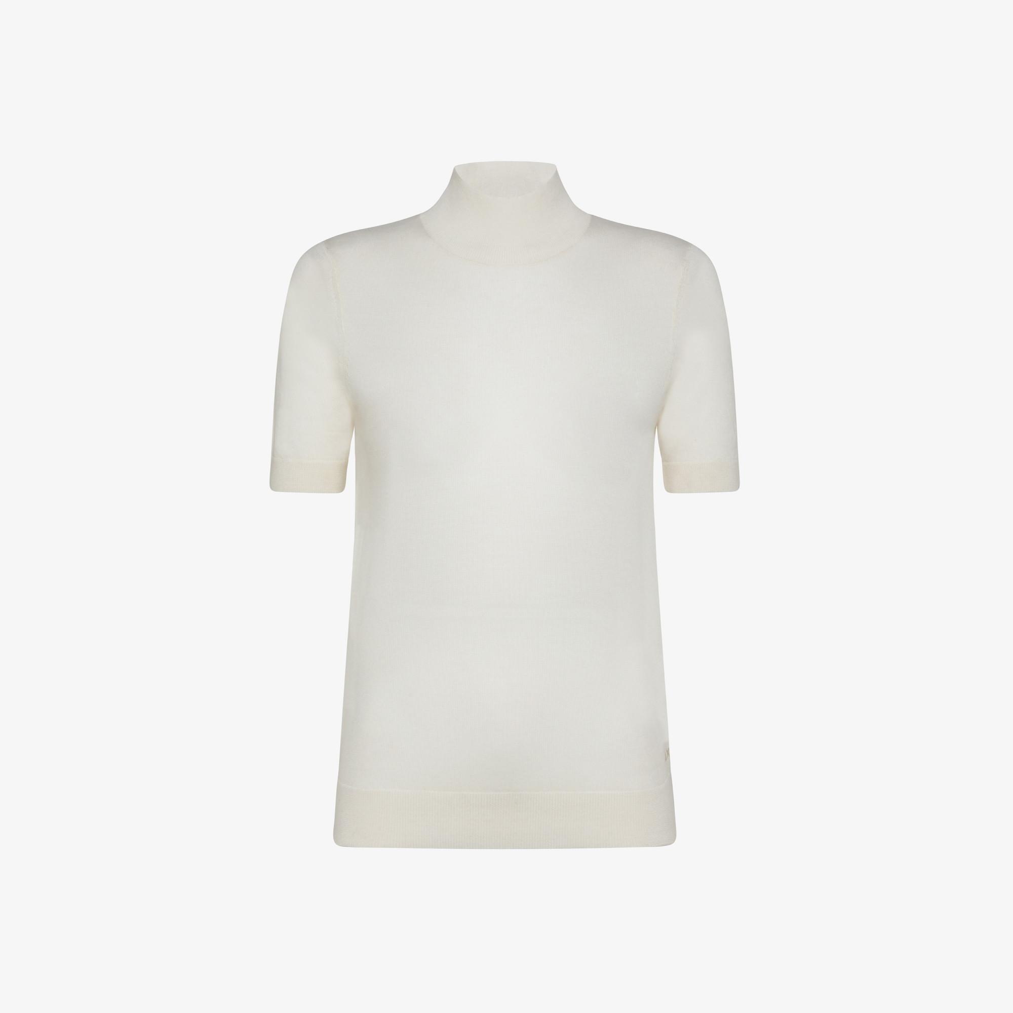 KNIT T-SHIRT HIGH NECK MERINOS S/S PORCELAIN