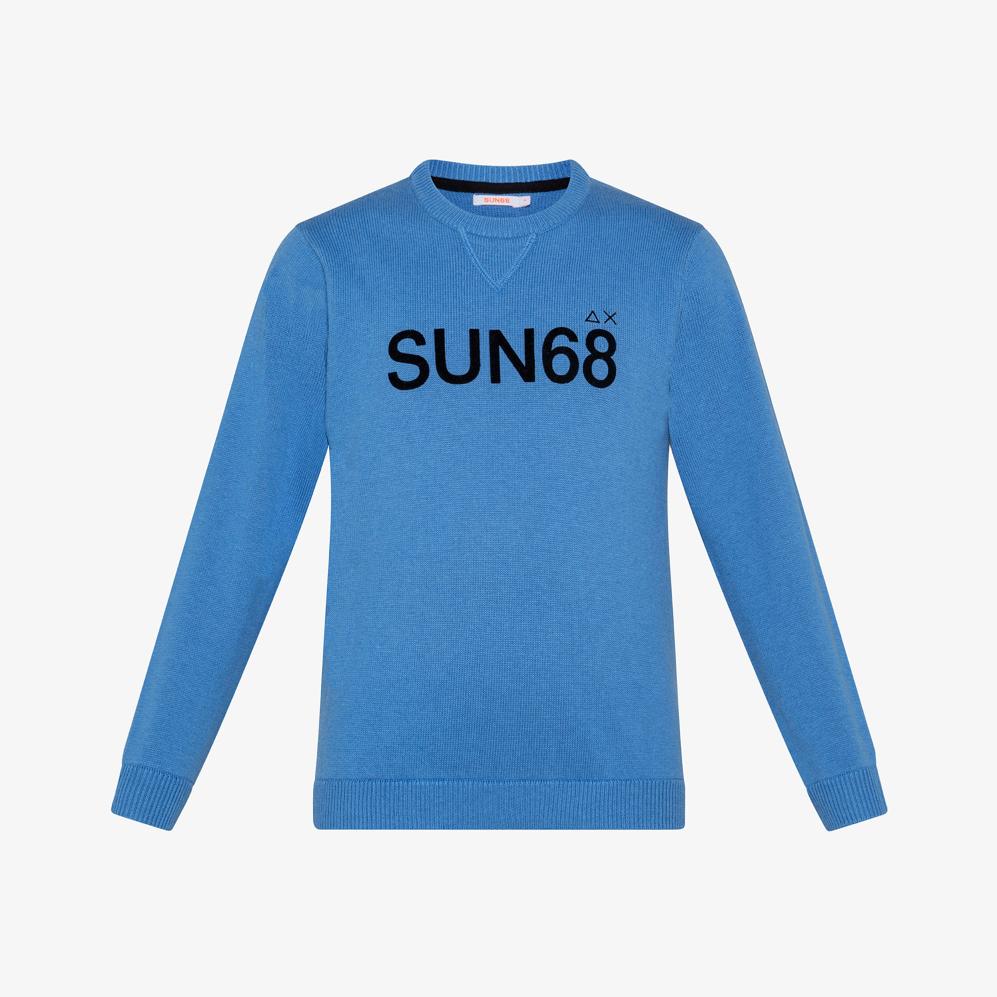 BOY'S ROUND LETTERING ON CHEST AZZURRO
