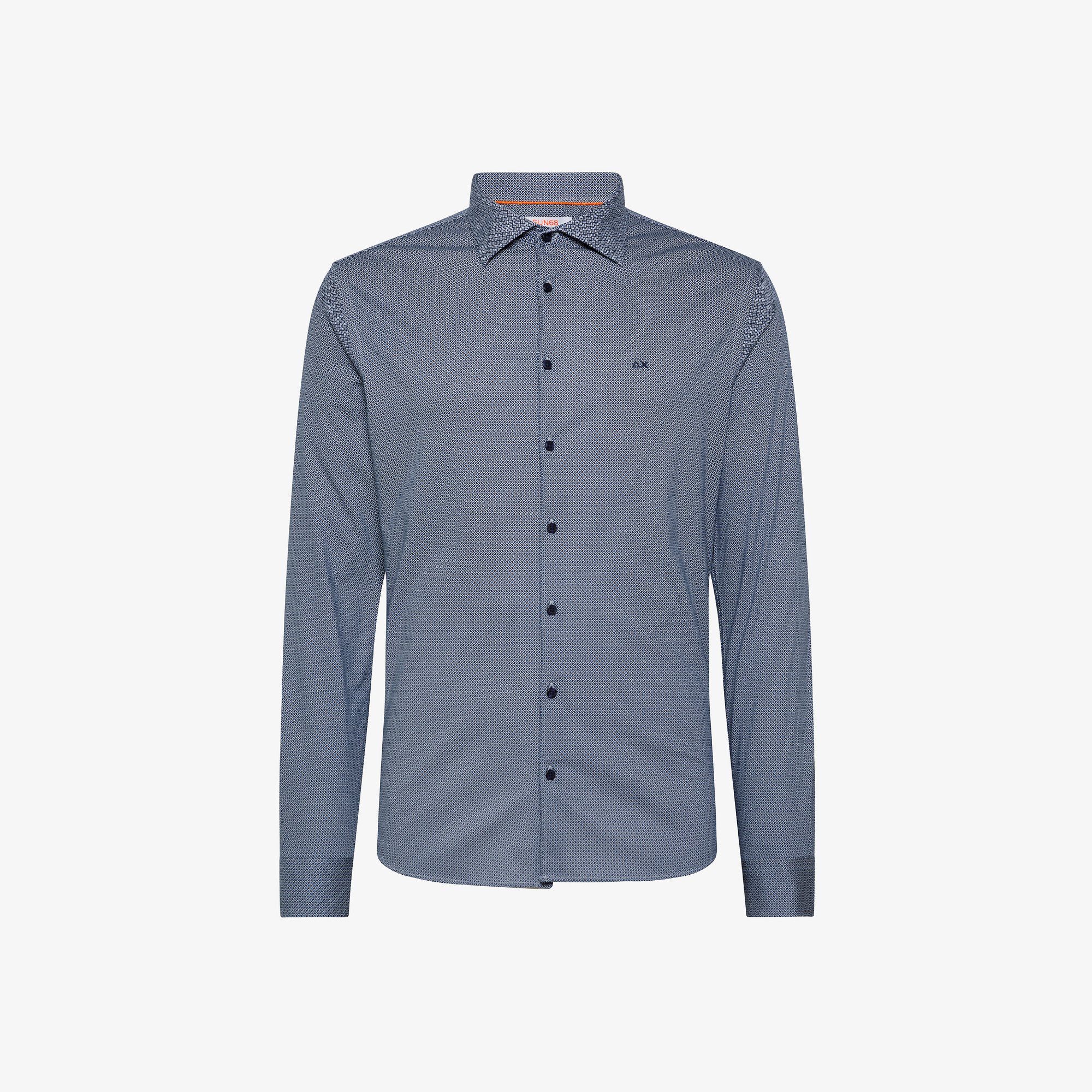 SHIRT JERSEY FANCY FRENCH COLLAR L/S NAVY BLUE/BLUE