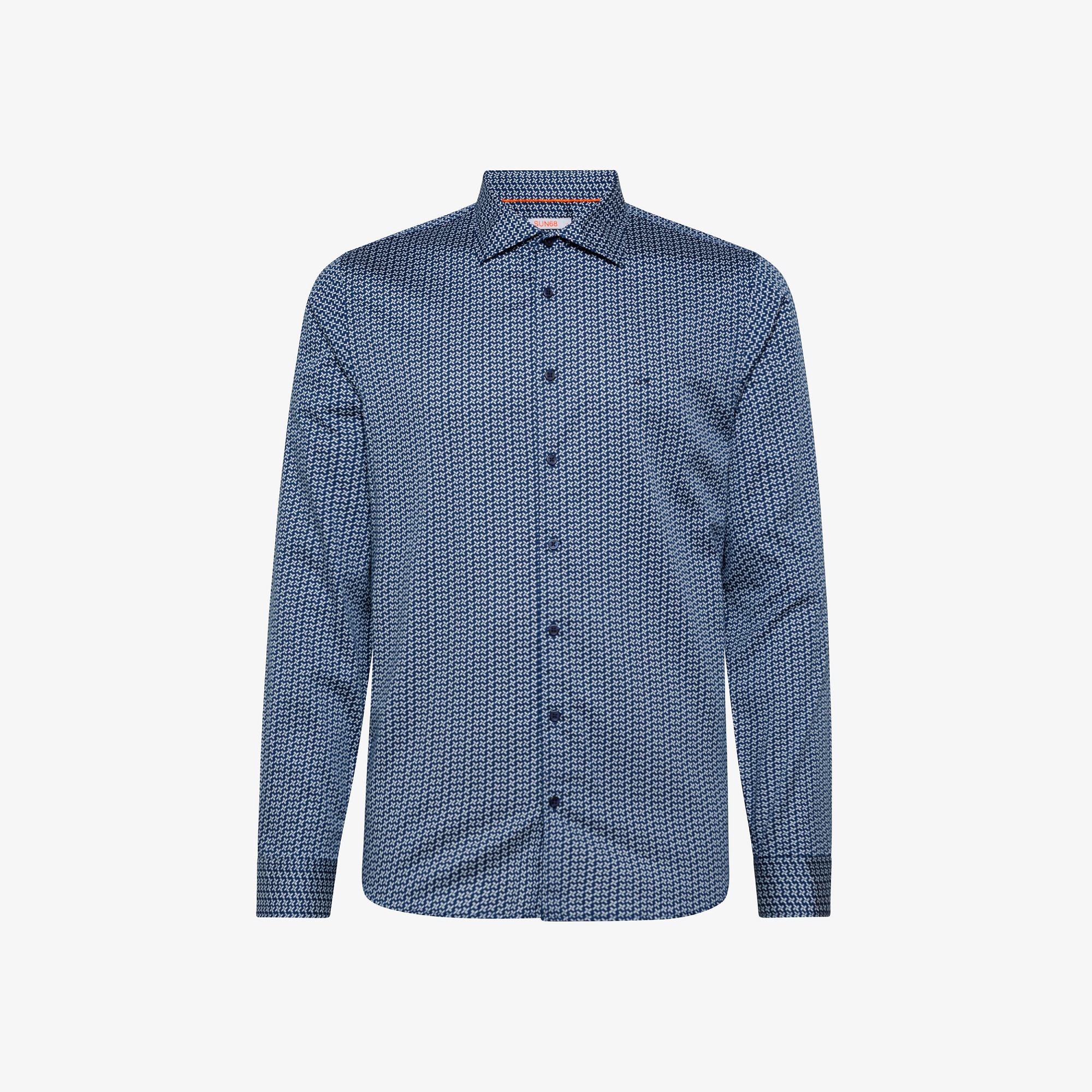 SHIRT MICROPRINT FRENCH COLLAR L/S NAVY BLUE/OFF WHITE