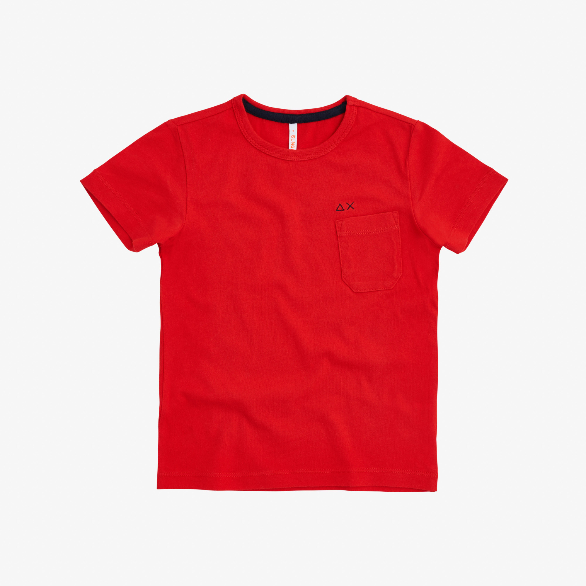 BOY'S T-SHIRT ROUND SOLID POCKET ROSSO FUOCO