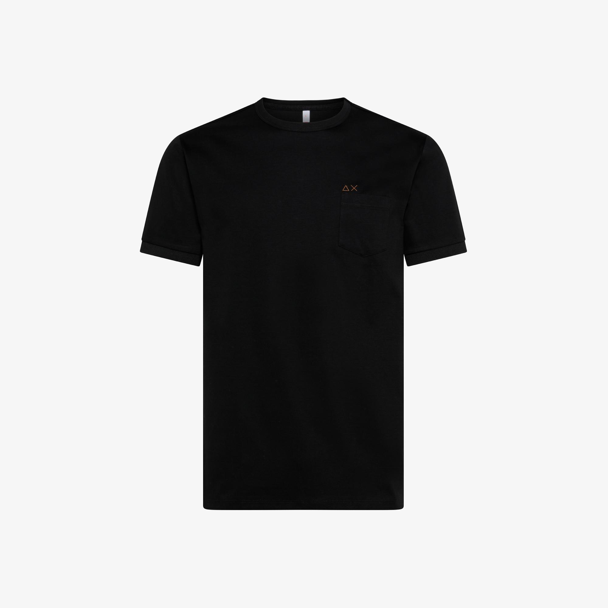 T-SHIRT SOLID POCKET S/S BLACK