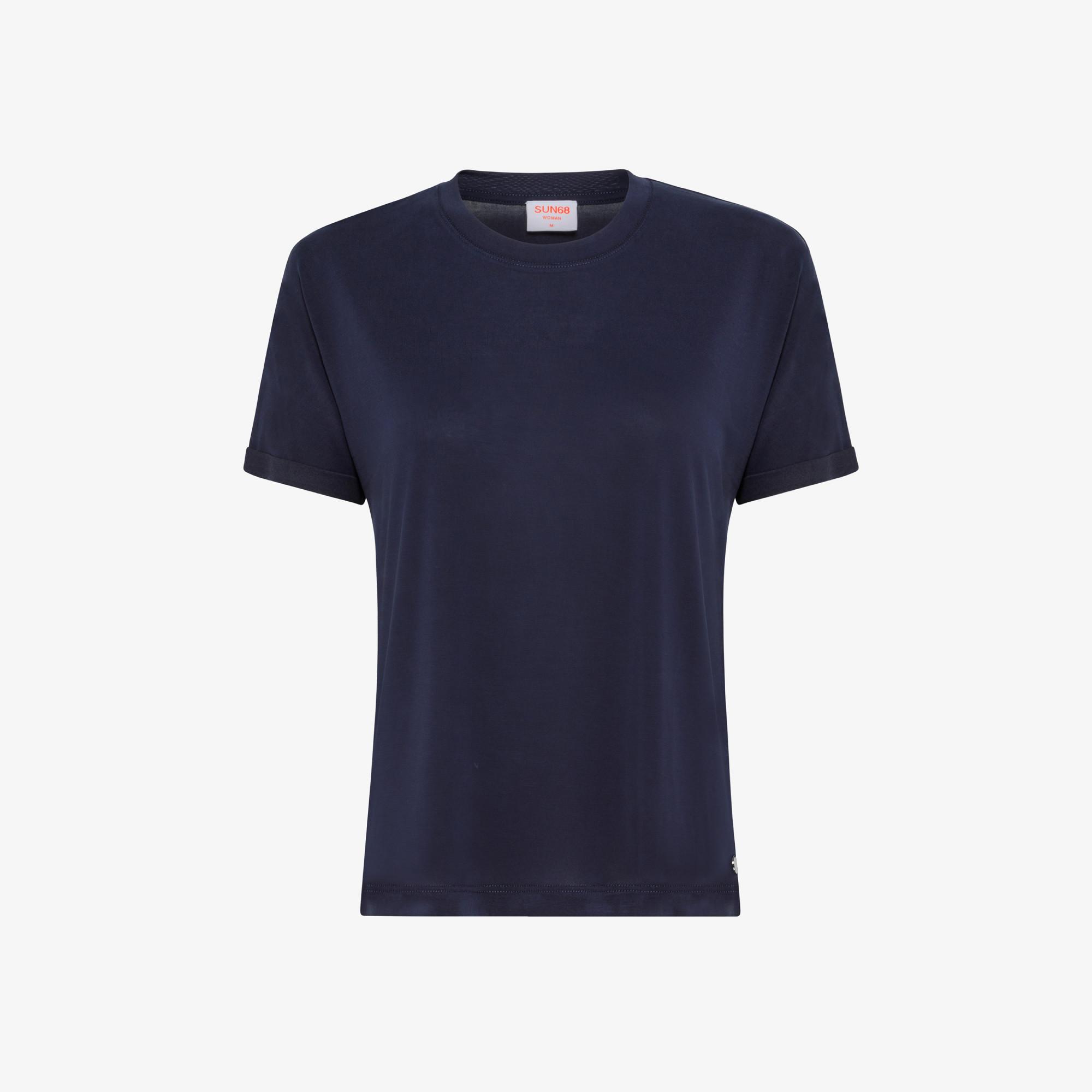 ROUND NECK T-SHIRT SHINY S/S NAVY BLUE