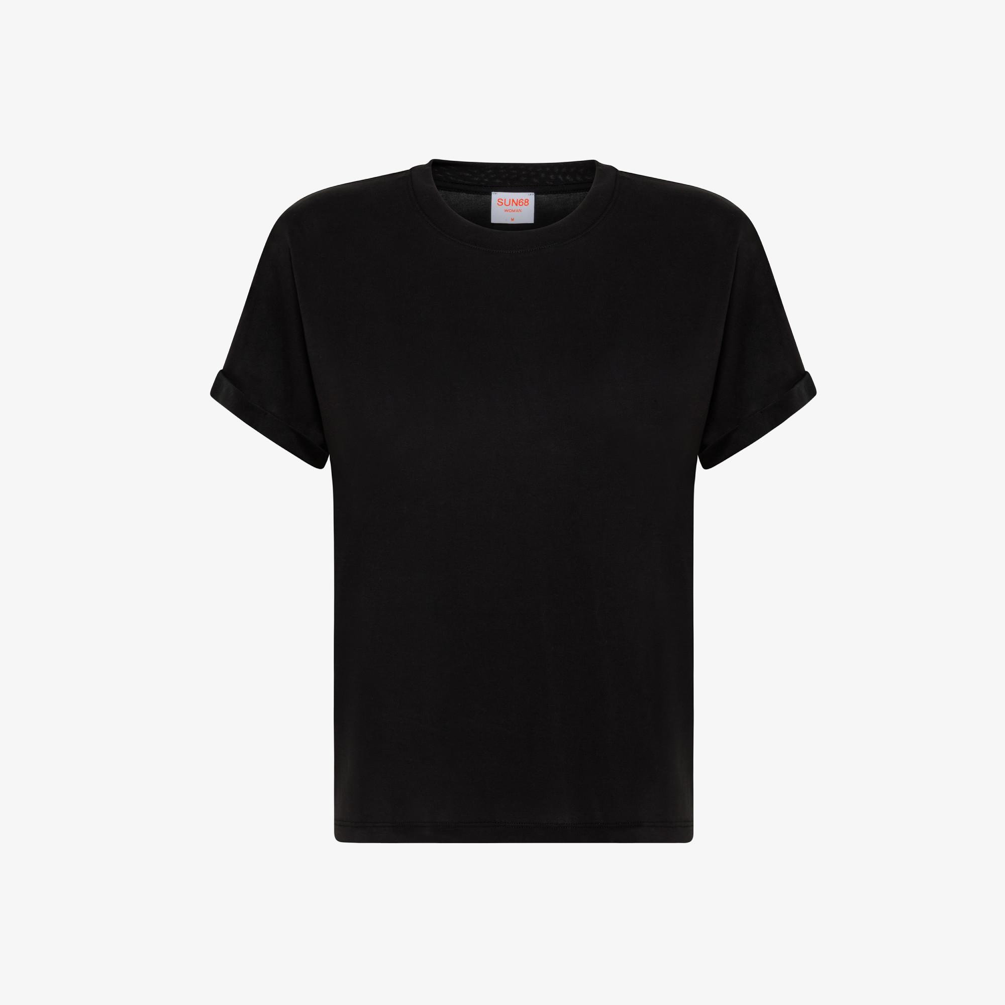 ROUND NECK T-SHIRT SHINY S/S BLACK