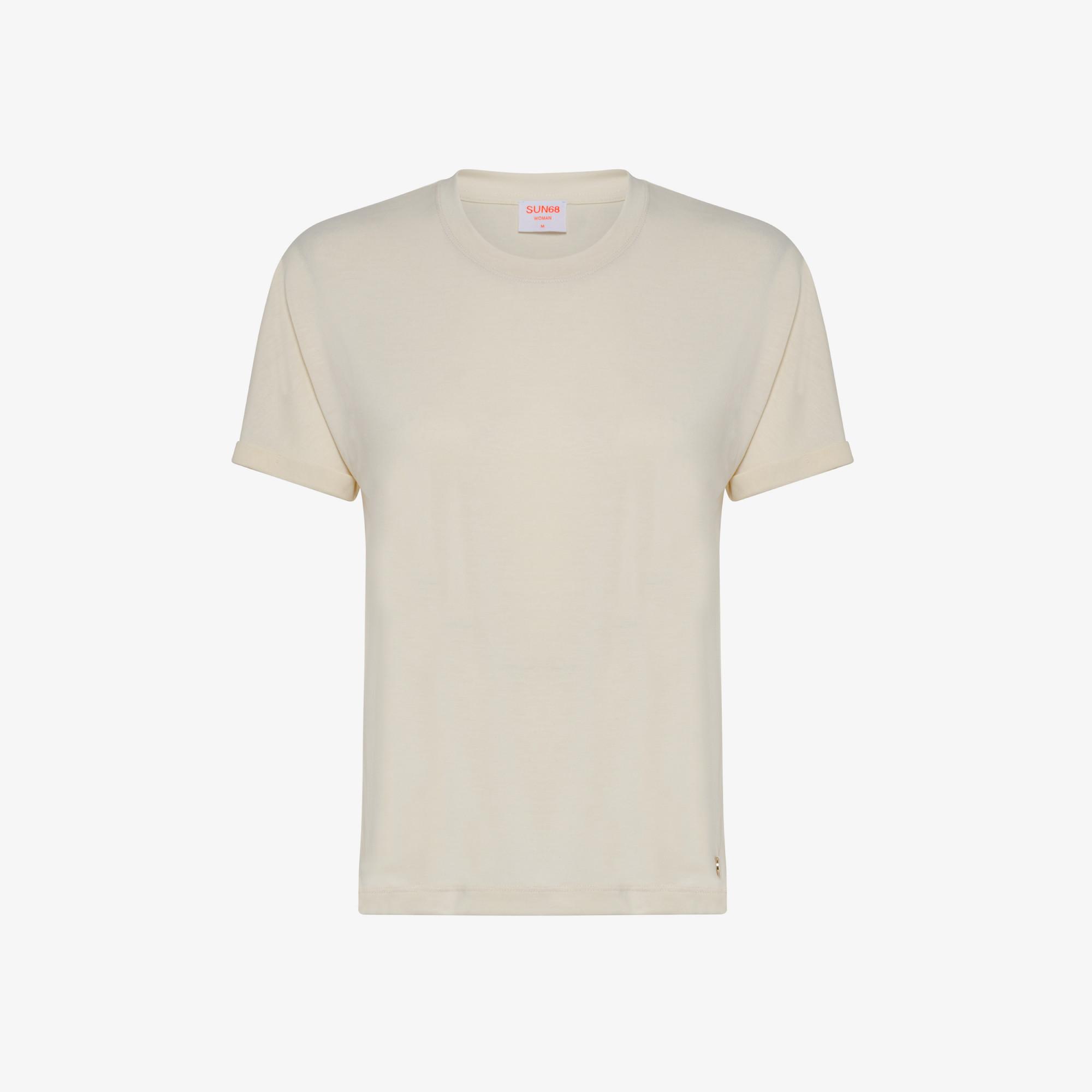 ROUND NECK T-SHIRT SHINY S/S PORCELAIN