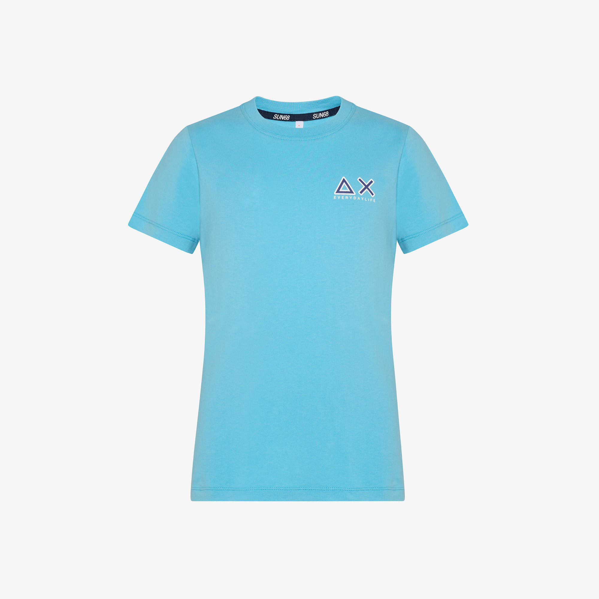 BOY'S ROUND T-SHIRT SMALL LOGO S/S TURQUOISE