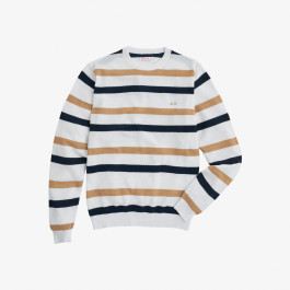 ROUND BIG STRIPES BIANCO/BEIGE