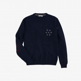 ROUND ELBOW & POCKET JACQUARD NAVY BLUE
