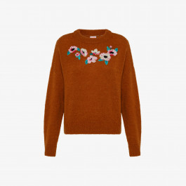 ROUND NECK EMBRODERY L/S SAND