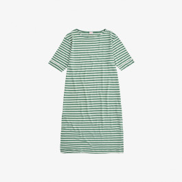 DRESS LINEN STRIPES SAGE GREEN/OFF WHITE