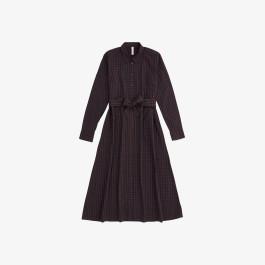 LONG DRESS L/S NAVY BLUE/BROWN