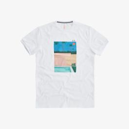 T-SHIRT PRINT ON CHEST BIANCO/BLUE