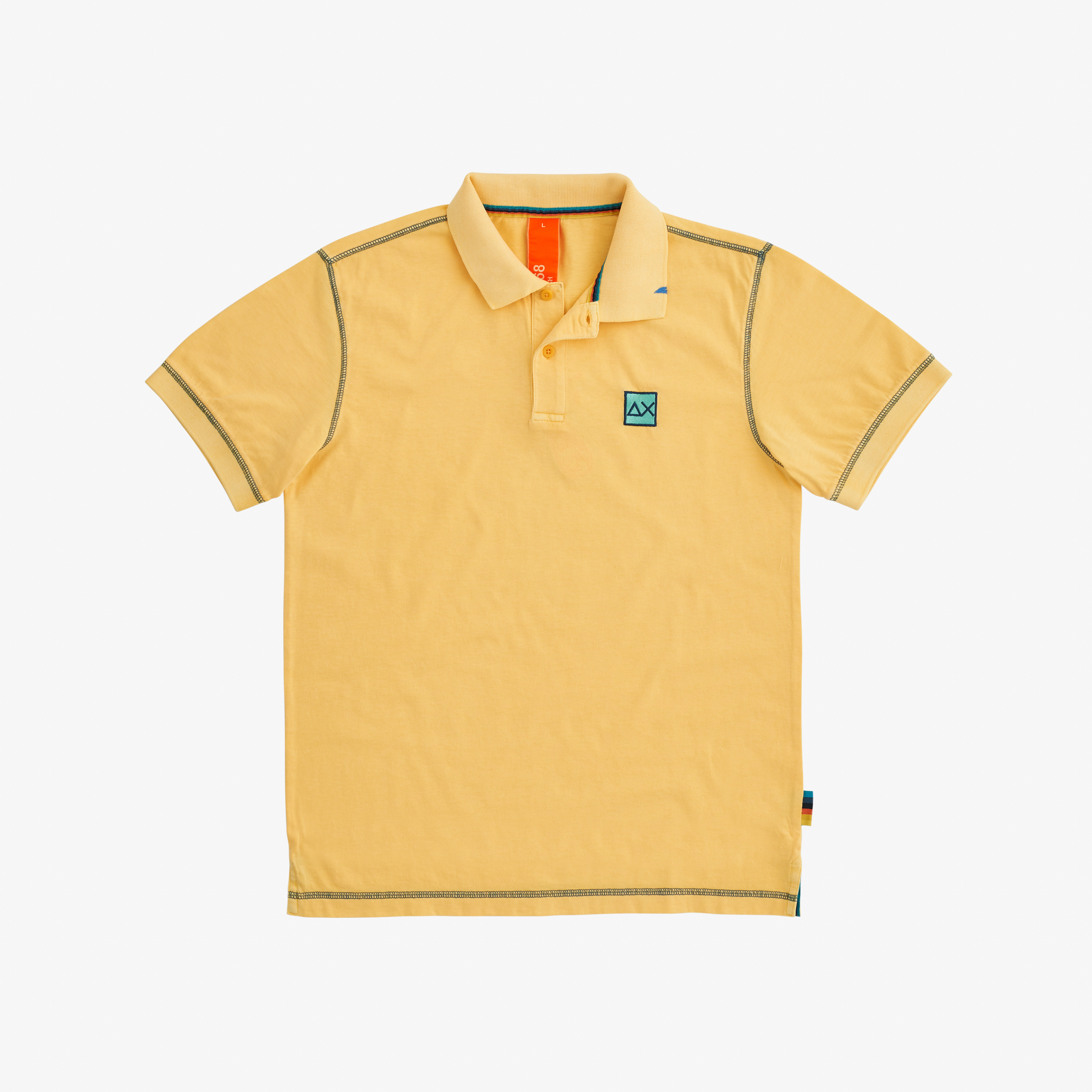 POLO COLD DYE CONTRAST STITCHING GIALLO SOLE