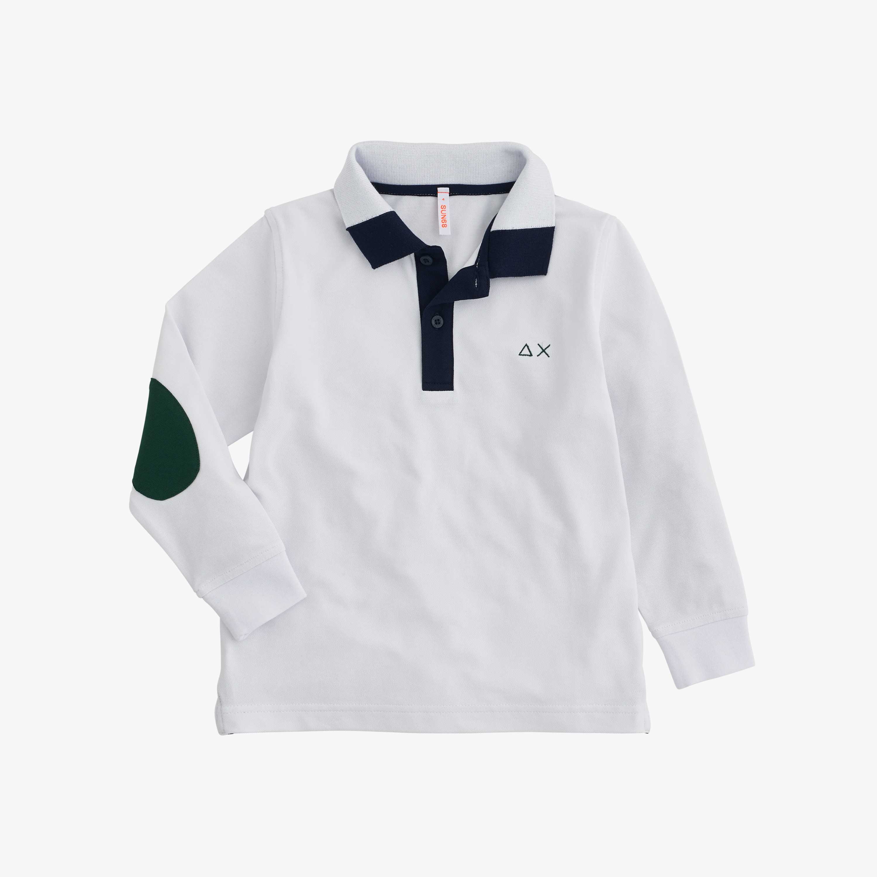 BOY'S POLO 3 CONTRAST ELBOW L/S WHITE