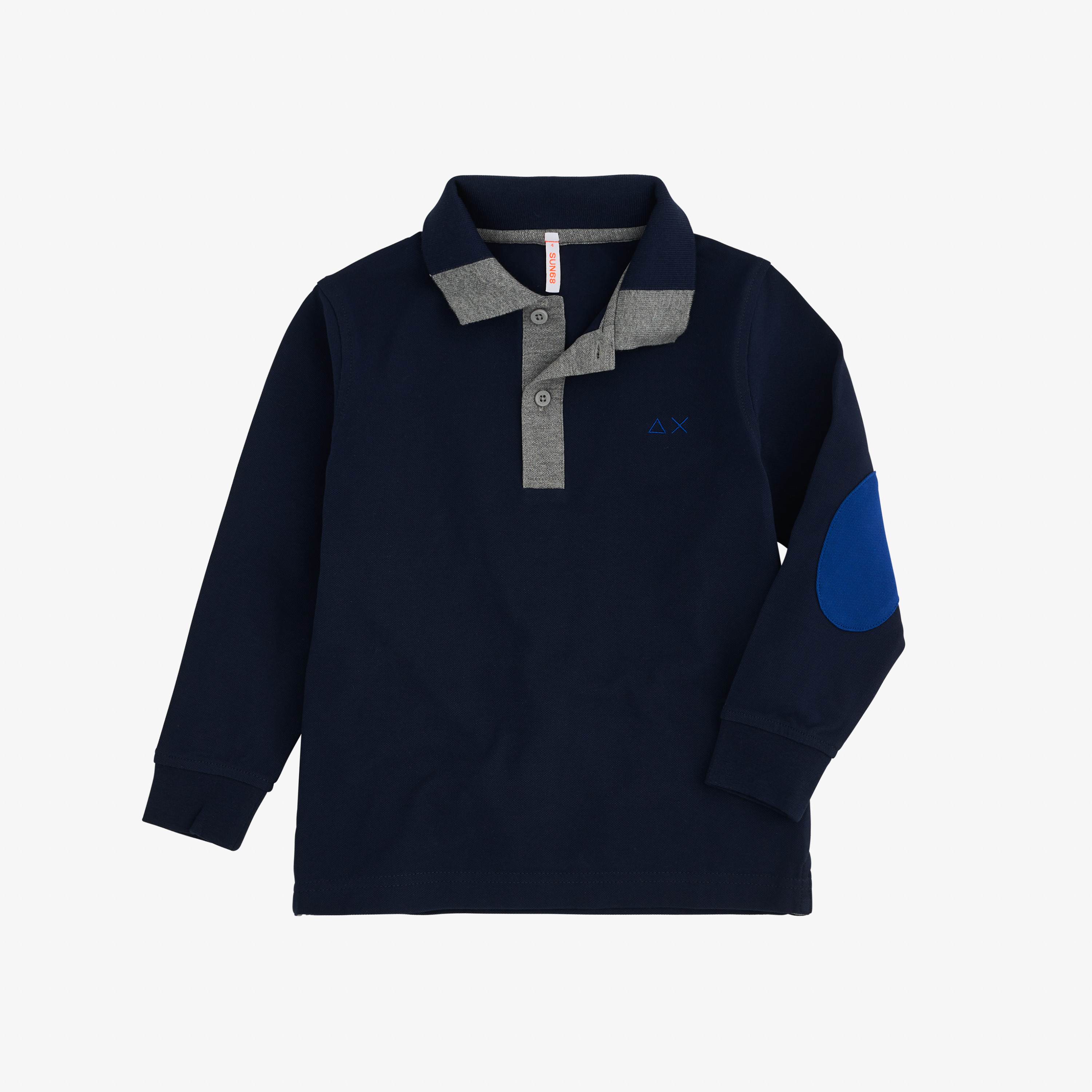 BOY'S POLO 3 CONTRAST ELBOW L/S NAVY BLUE