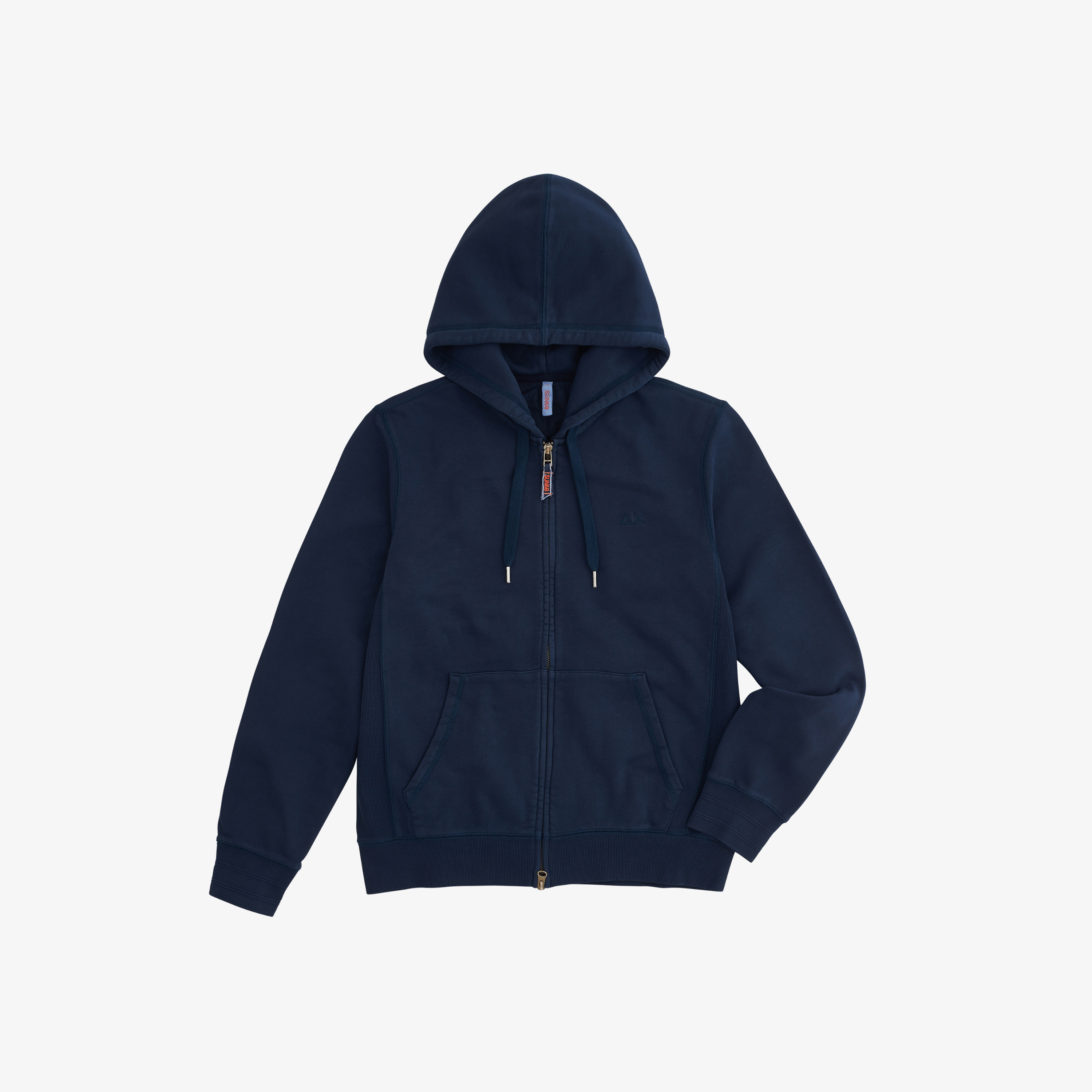 HOOD ZIP COLD DYE COTT. FL. NAVY BLUE
