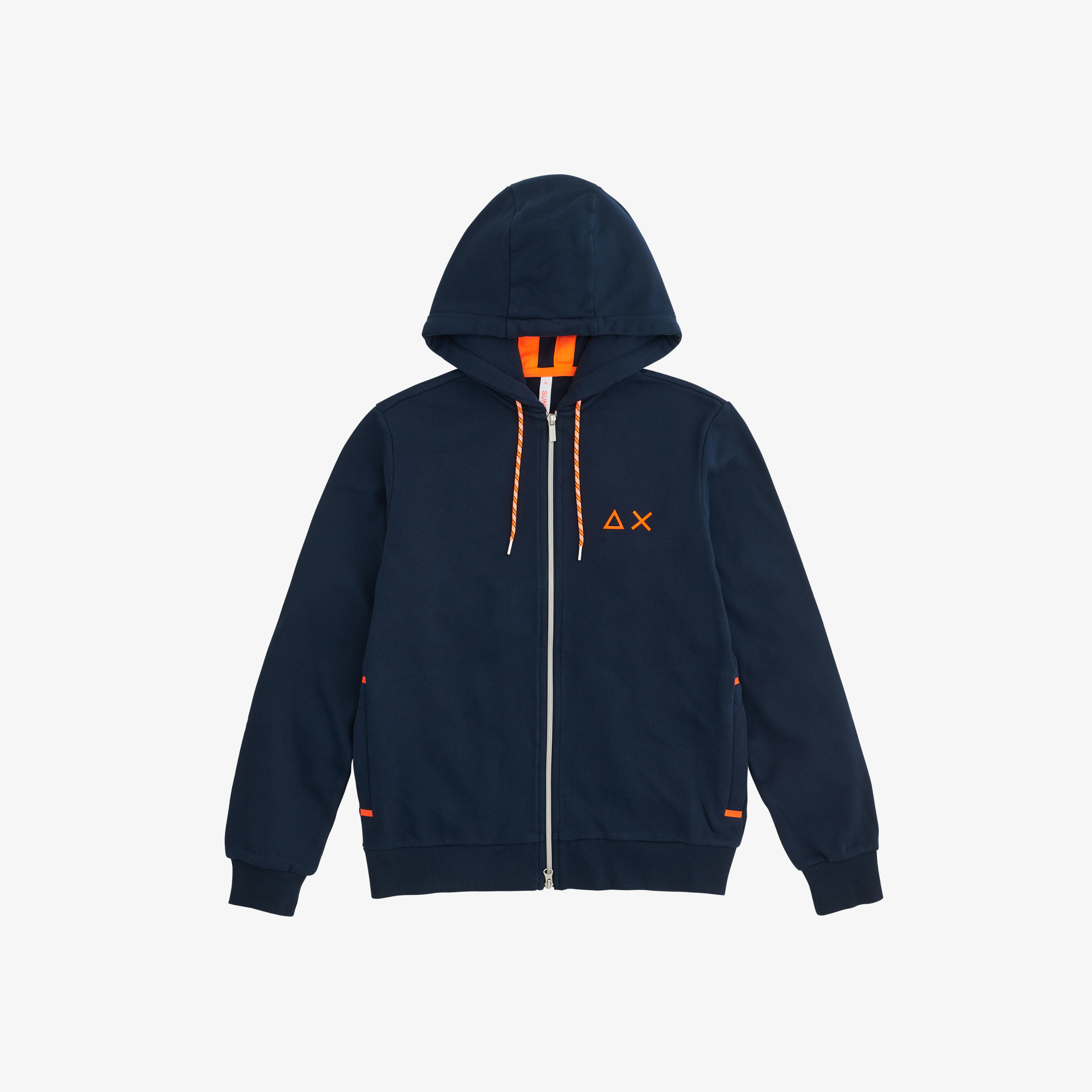HOOD ZIP DETAIL FLUO COTT. FL. NAVY BLUE