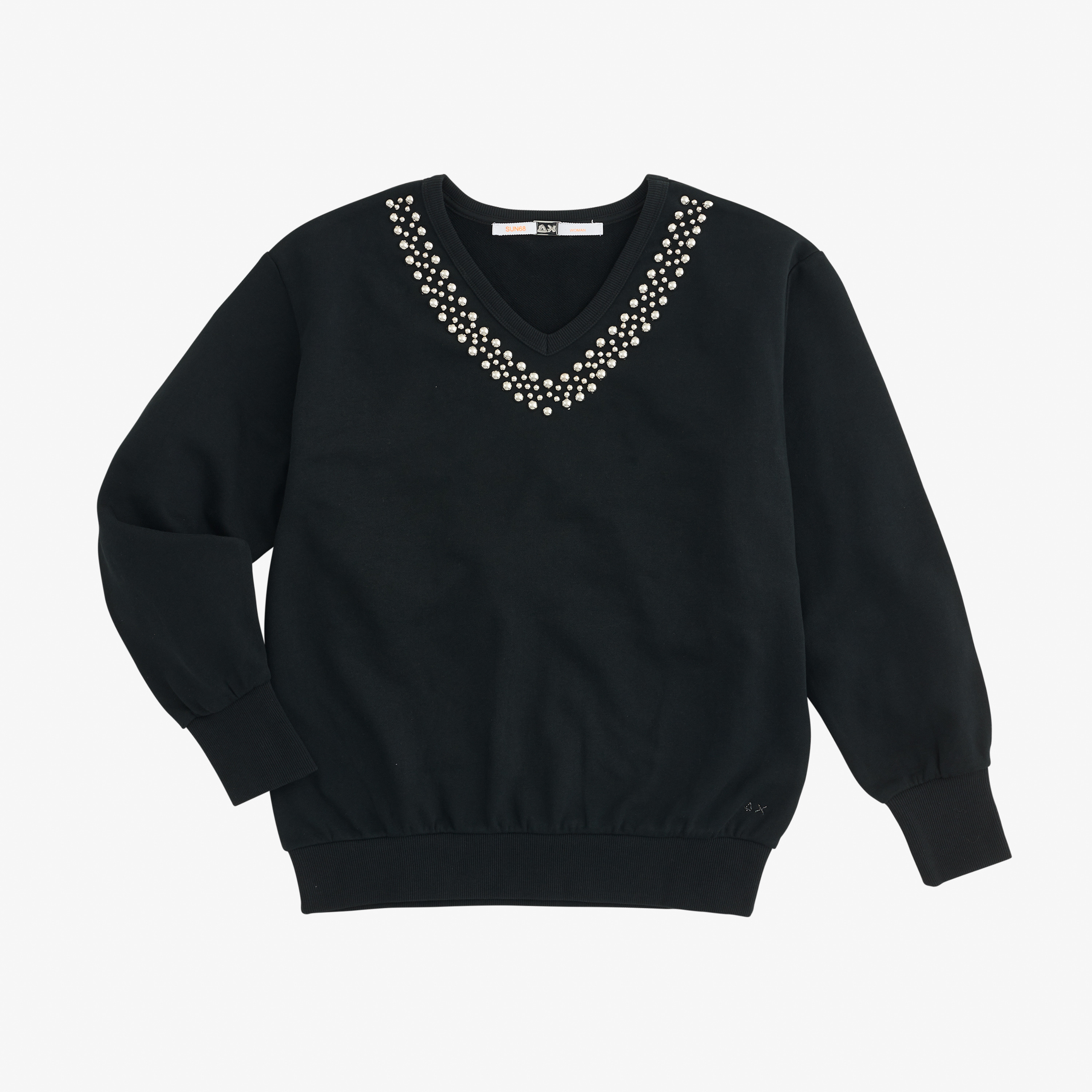 V NECK CROPPED STUDS COTTON FL. NERO