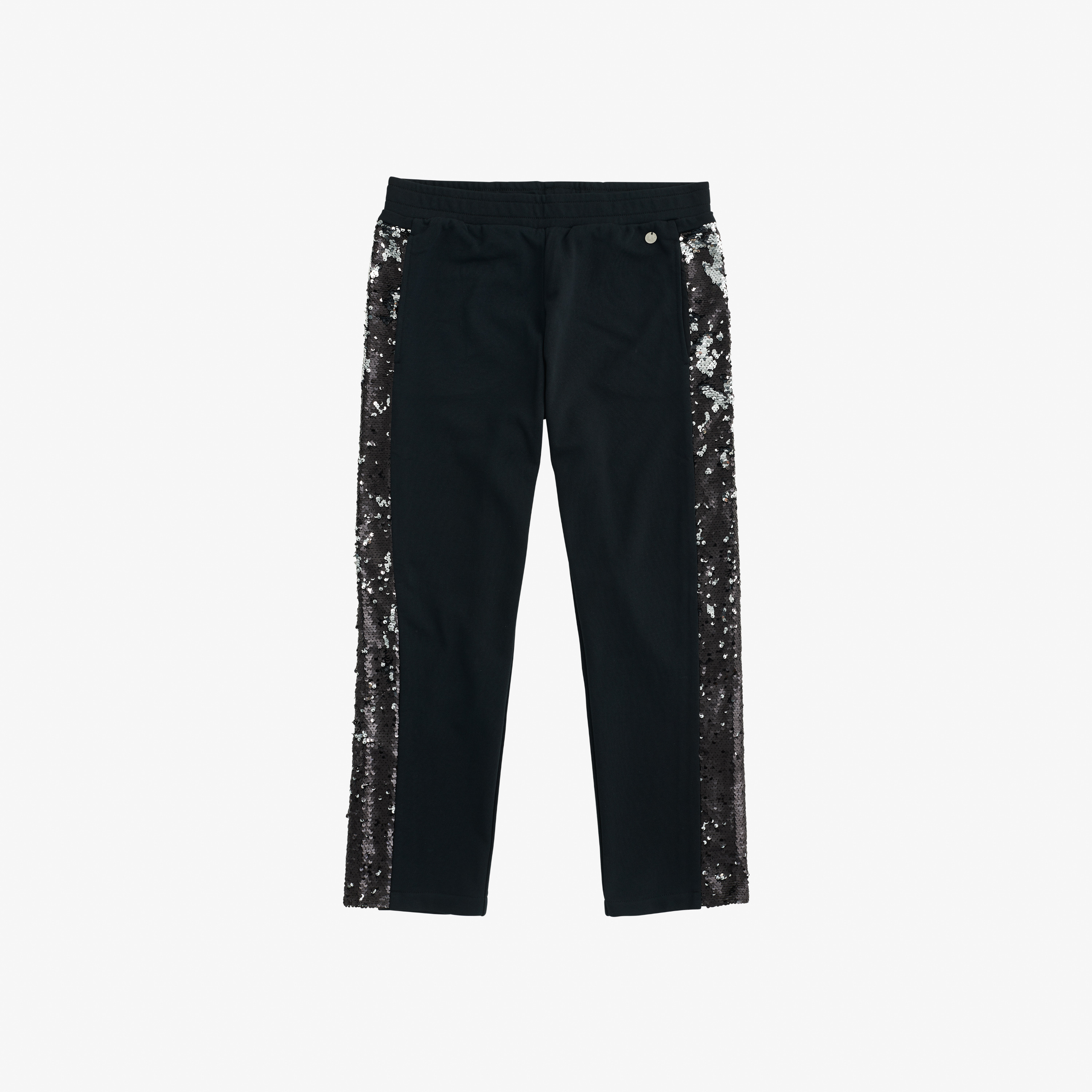 PANT PAILETTES ON SIDE COTTON FL. NERO