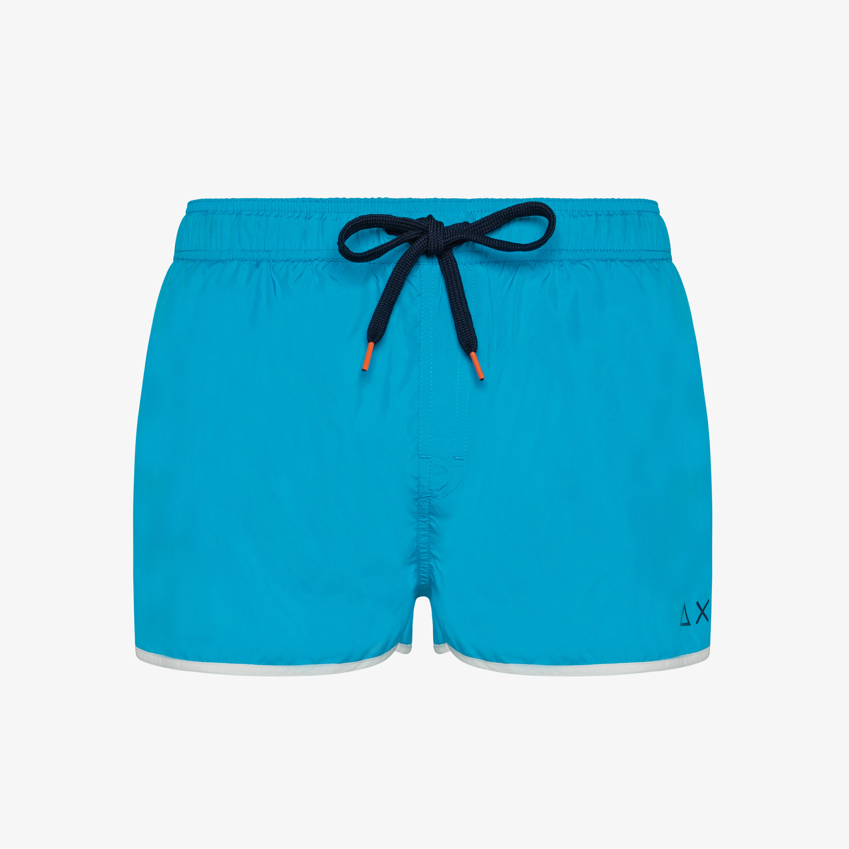 SWIM PANT SOLID BINDING SMALL LOGO BLUE FLUO