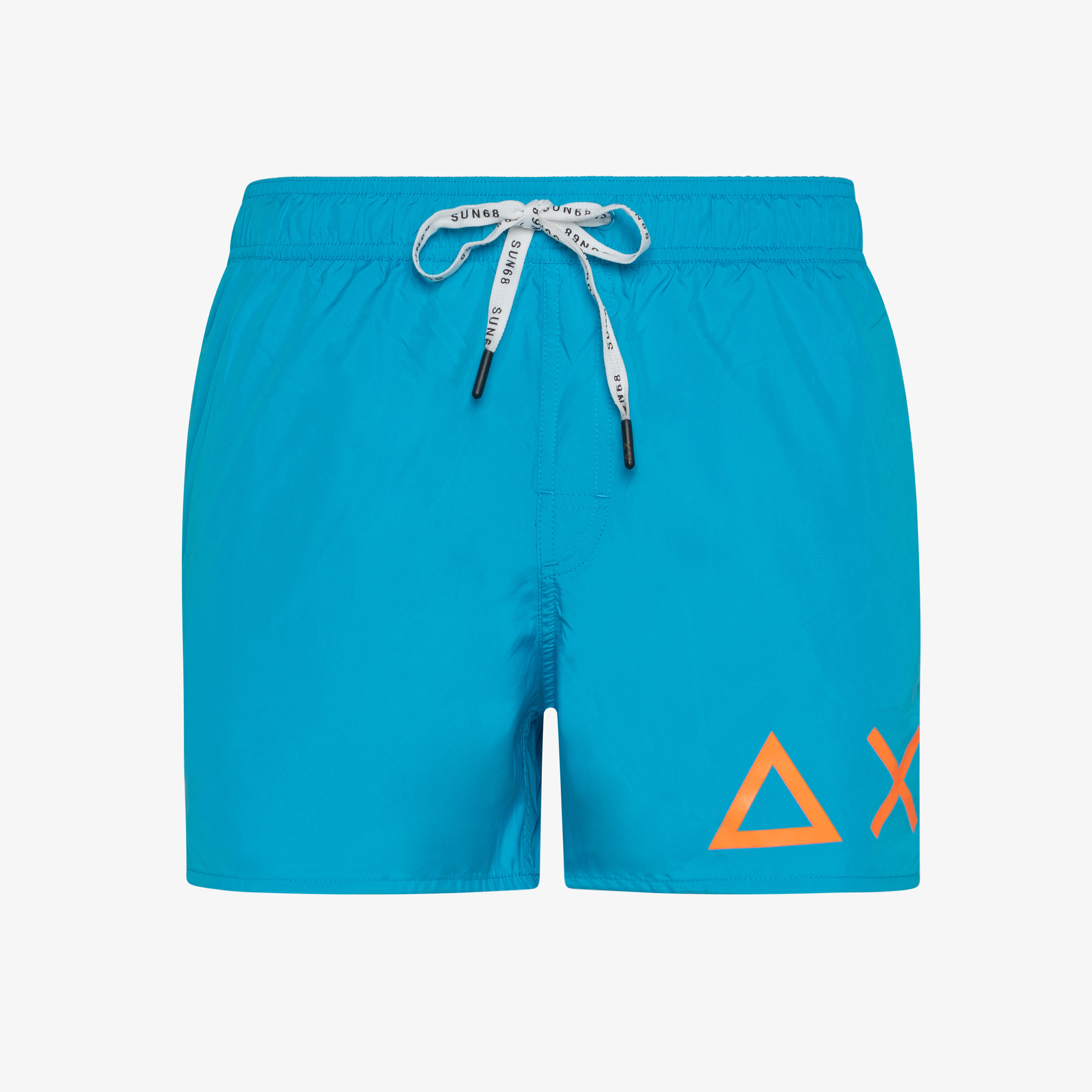 SWIM PANT SOLID BIG LOGO BLUE FLUO