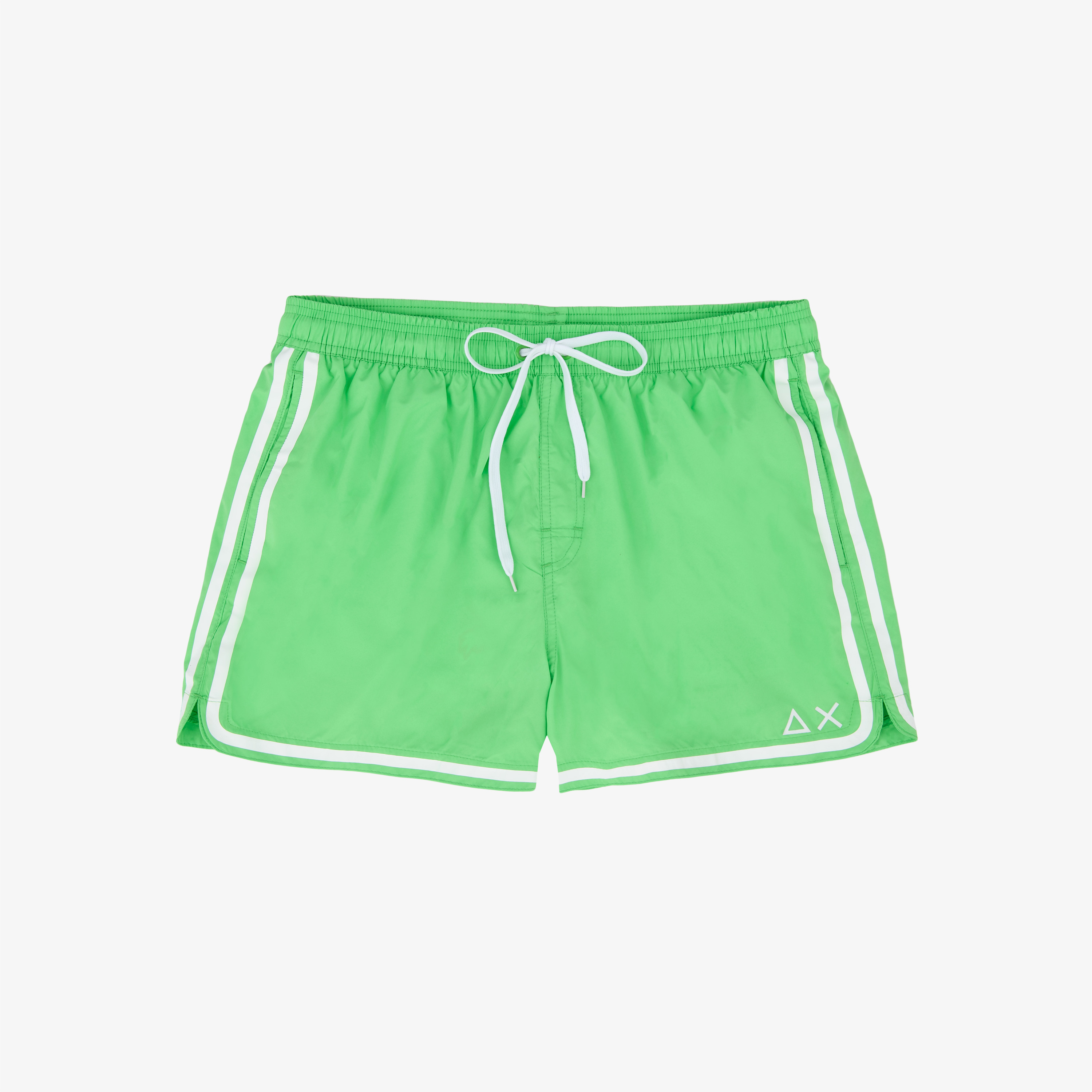 SWIM PANT SIDE BAND WHITE VERDE FLUO