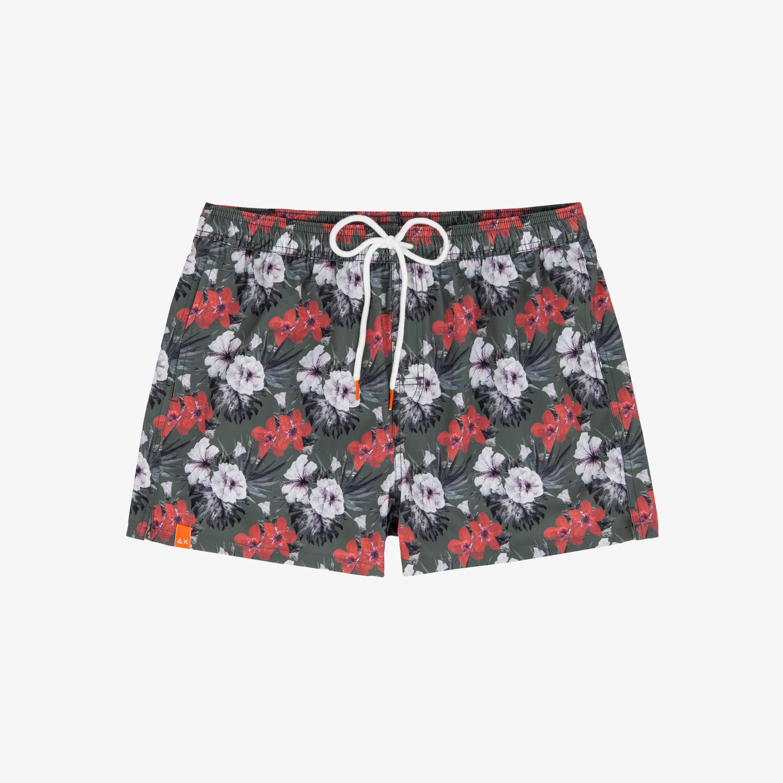 SWIM PANT HAWAII & FLOWERS MILITARE/RUST