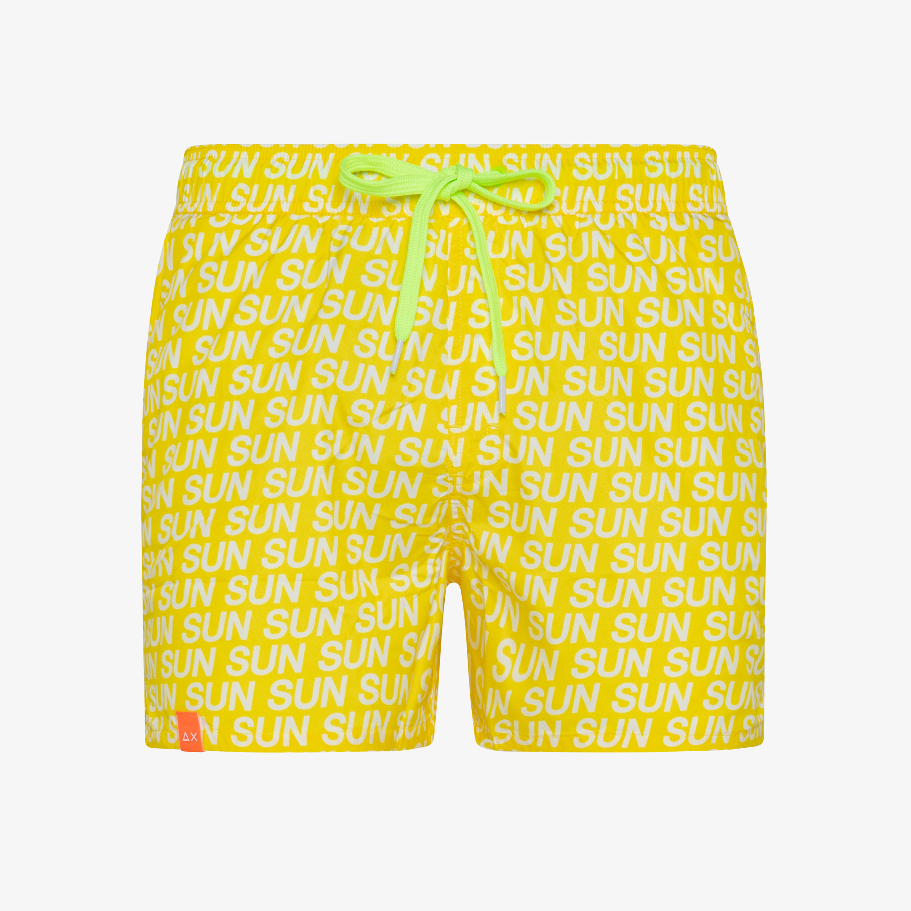 SWIM PANT LETTERING YELLOW FLUO