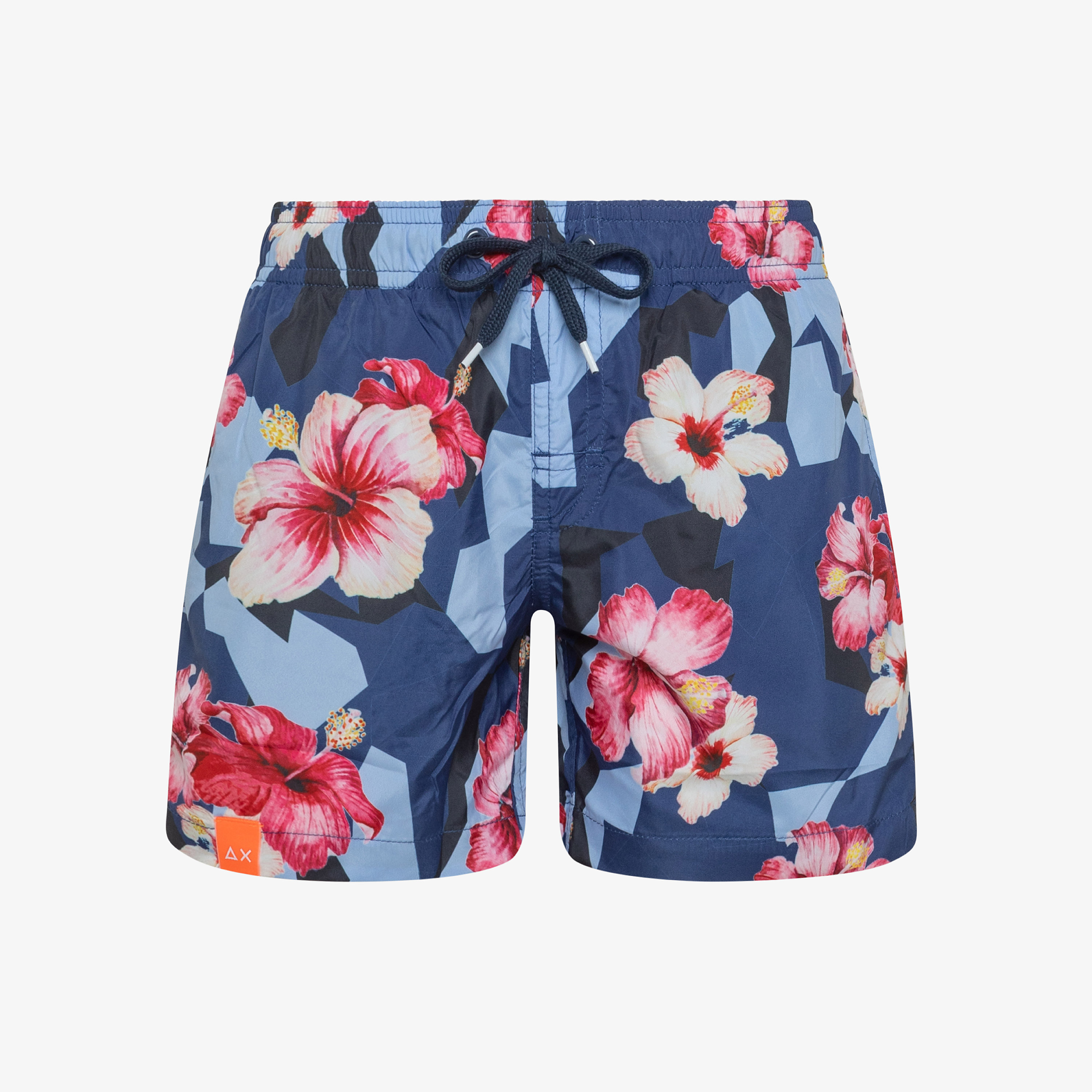 BOY'S SWIM PANT CAMOUFLAGE NAVY BLUE/FUXIA