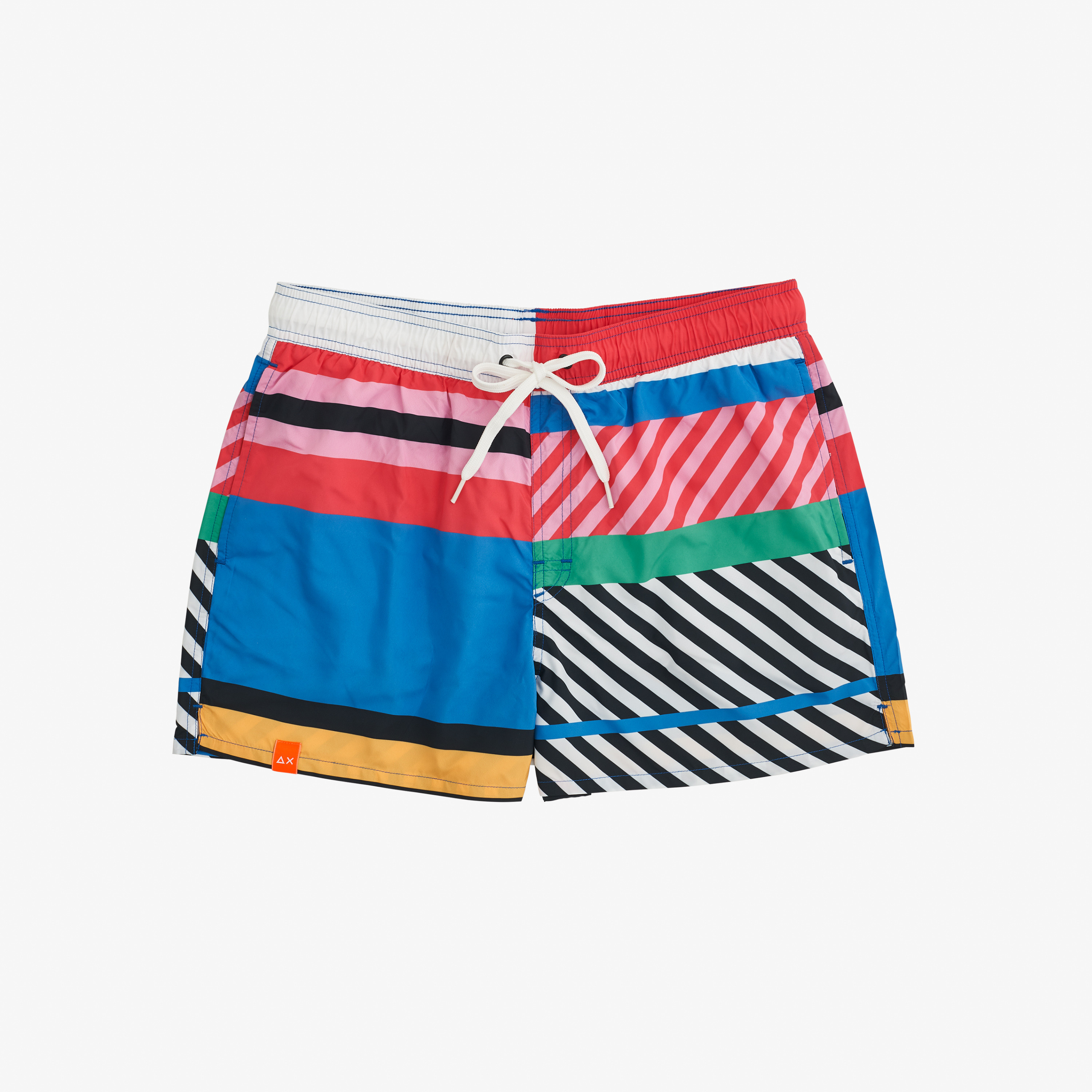 SWIM PANT GEOMETRIC CORAL/BLUE