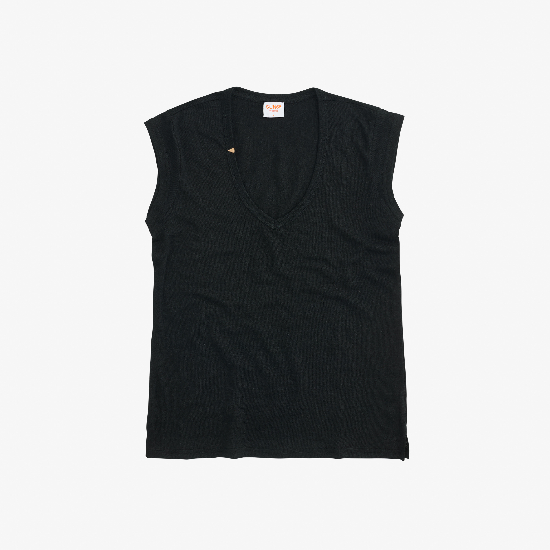 T-SHIRT V NECK LINEN S/S BLACK