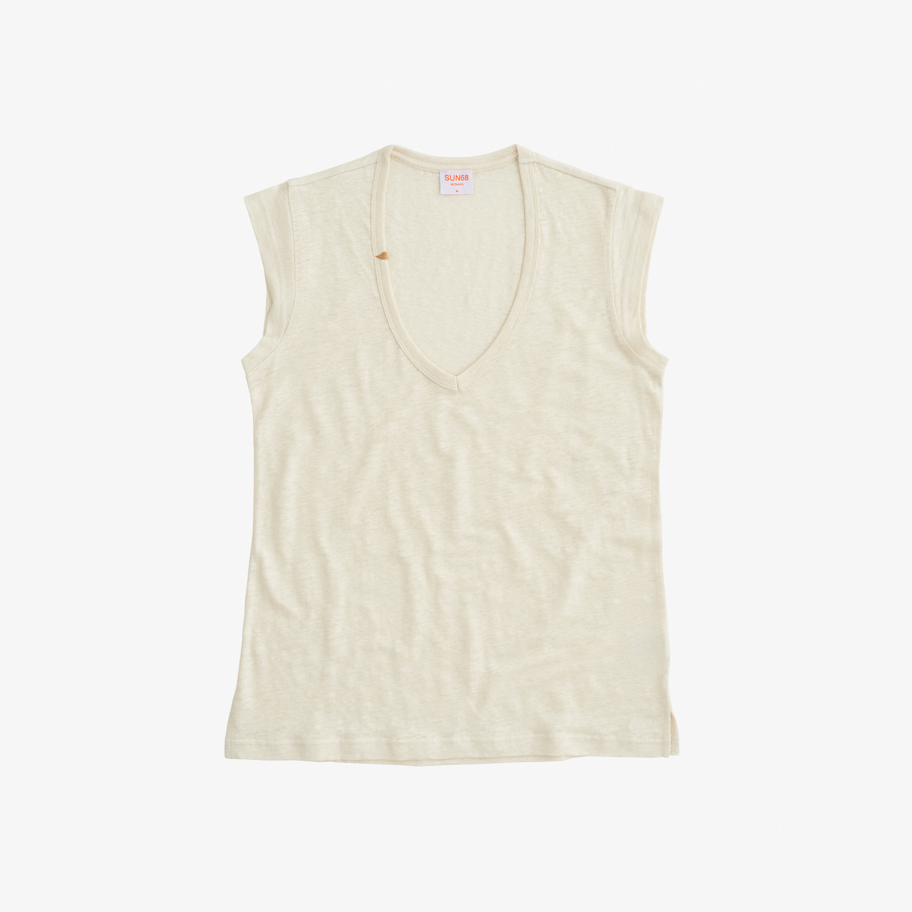 T-SHIRT V NECK LINEN S/S OFF WHITE