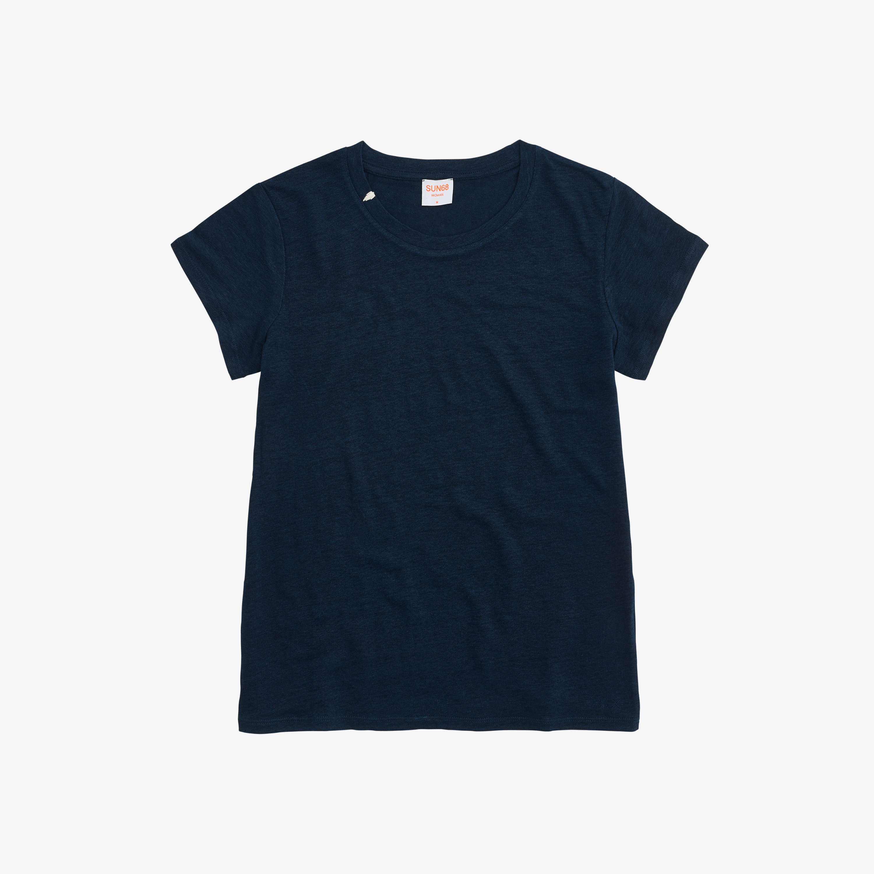 ROUND T-SHIRT LINEN SOLID S/S NAVY BLUE