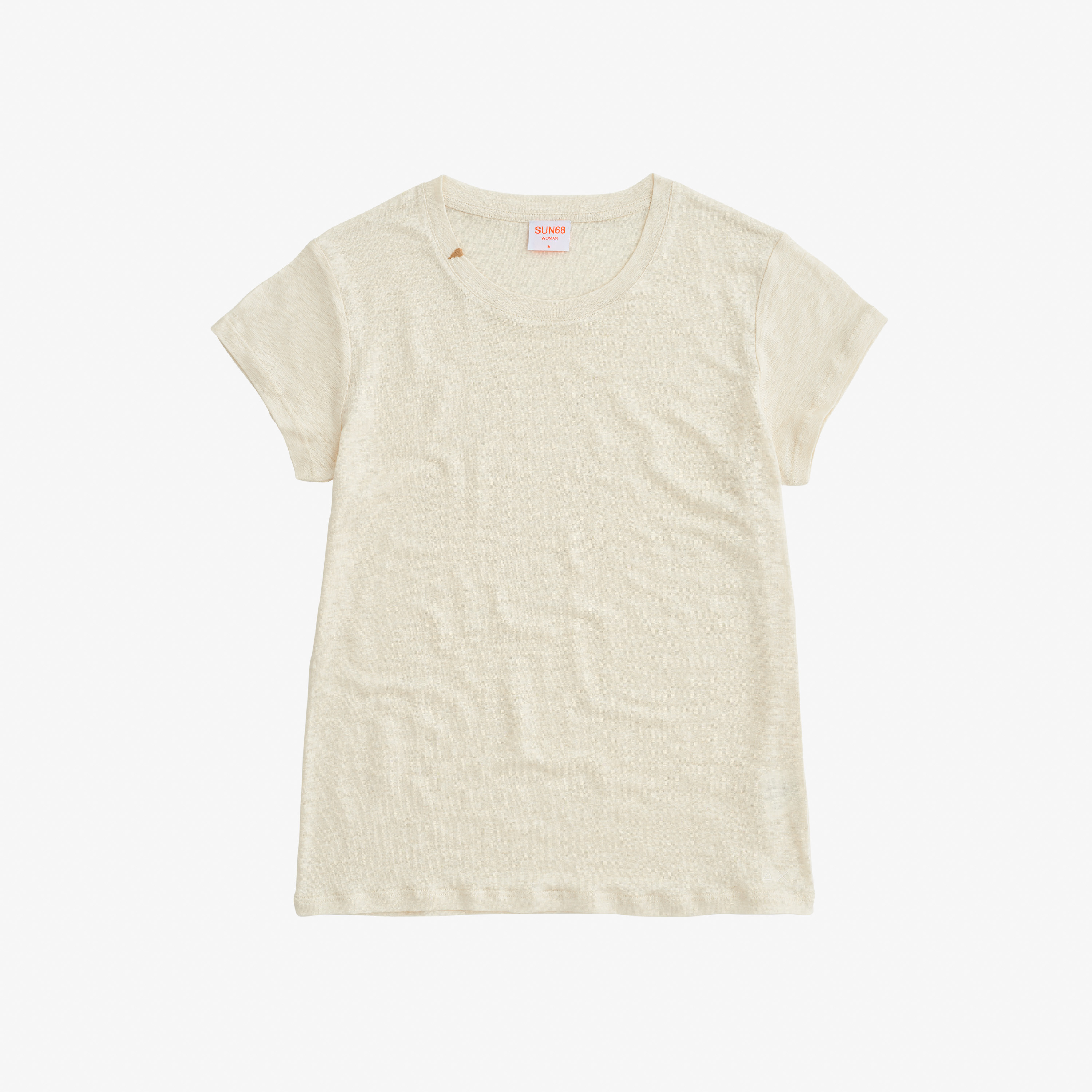 ROUND T-SHIRT LINEN SOLID S/S OFF WHITE