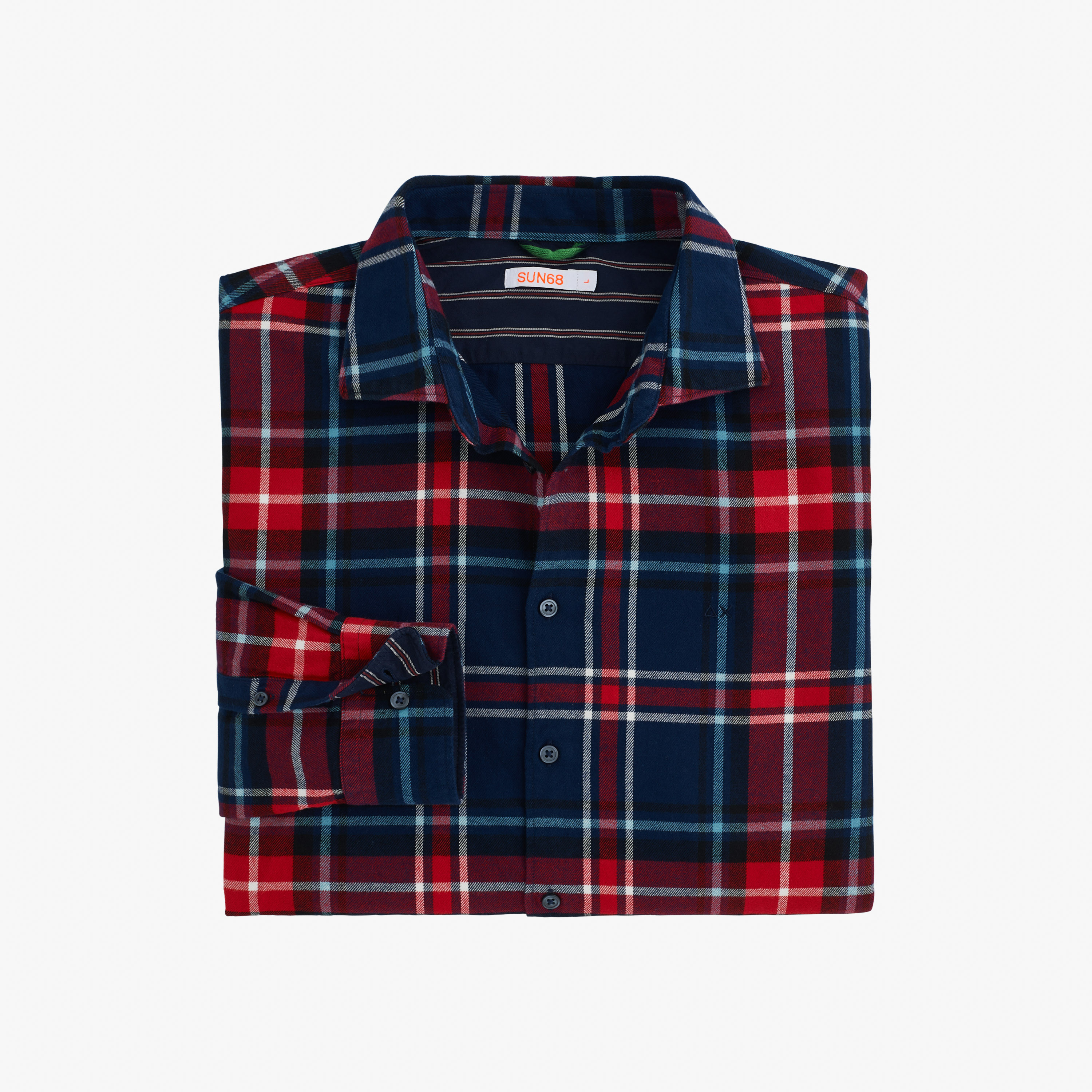 SHIRT BIG DETAILS FRENCH COLLAR L/S NAVY BLUE/RED