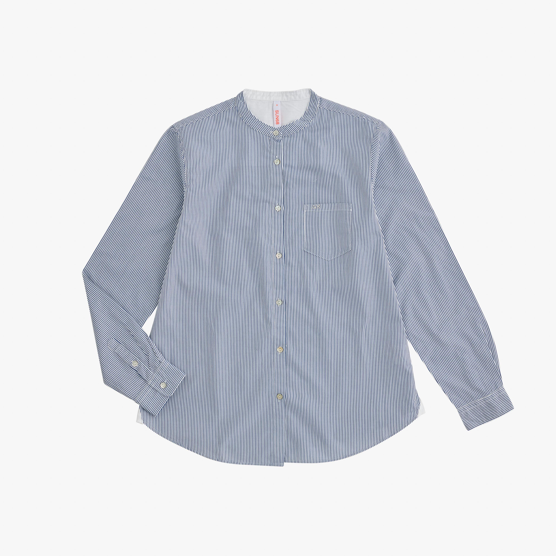 SHIRT KOREA COLLAR L/S NAVY BLUE/WHITE