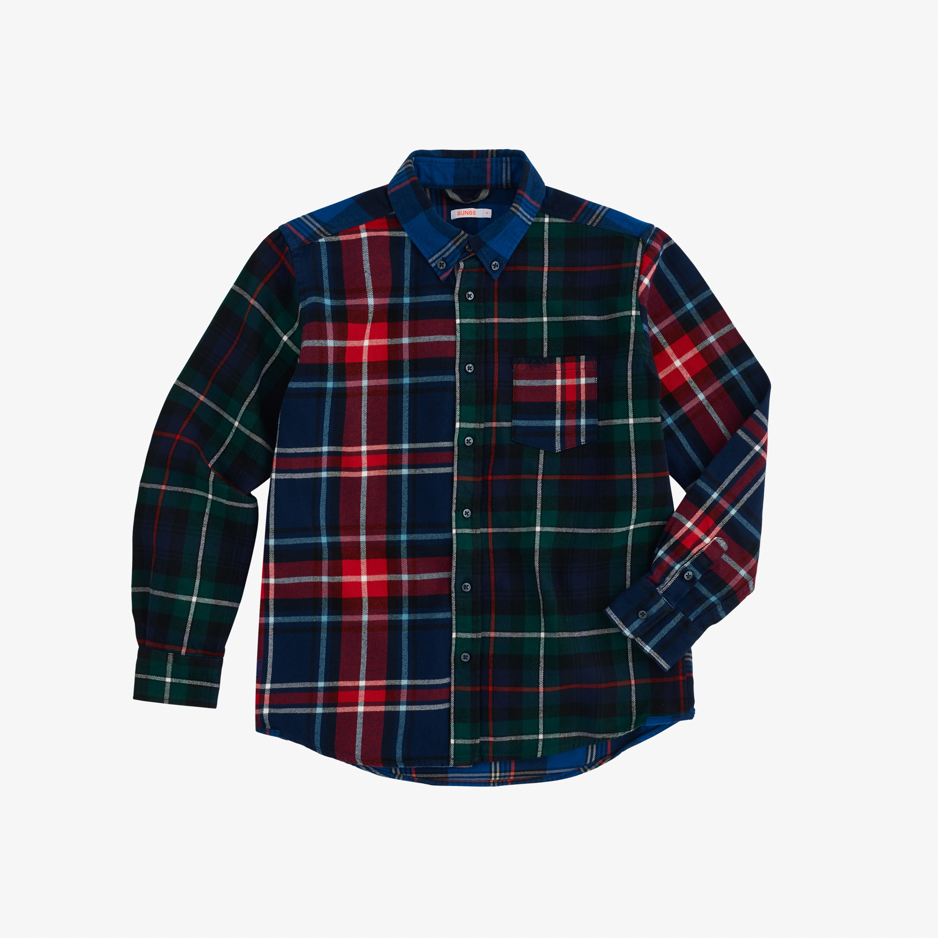 BOY'S SHIRT PATCHWORK B/D L/S NAVY BLUE/RED