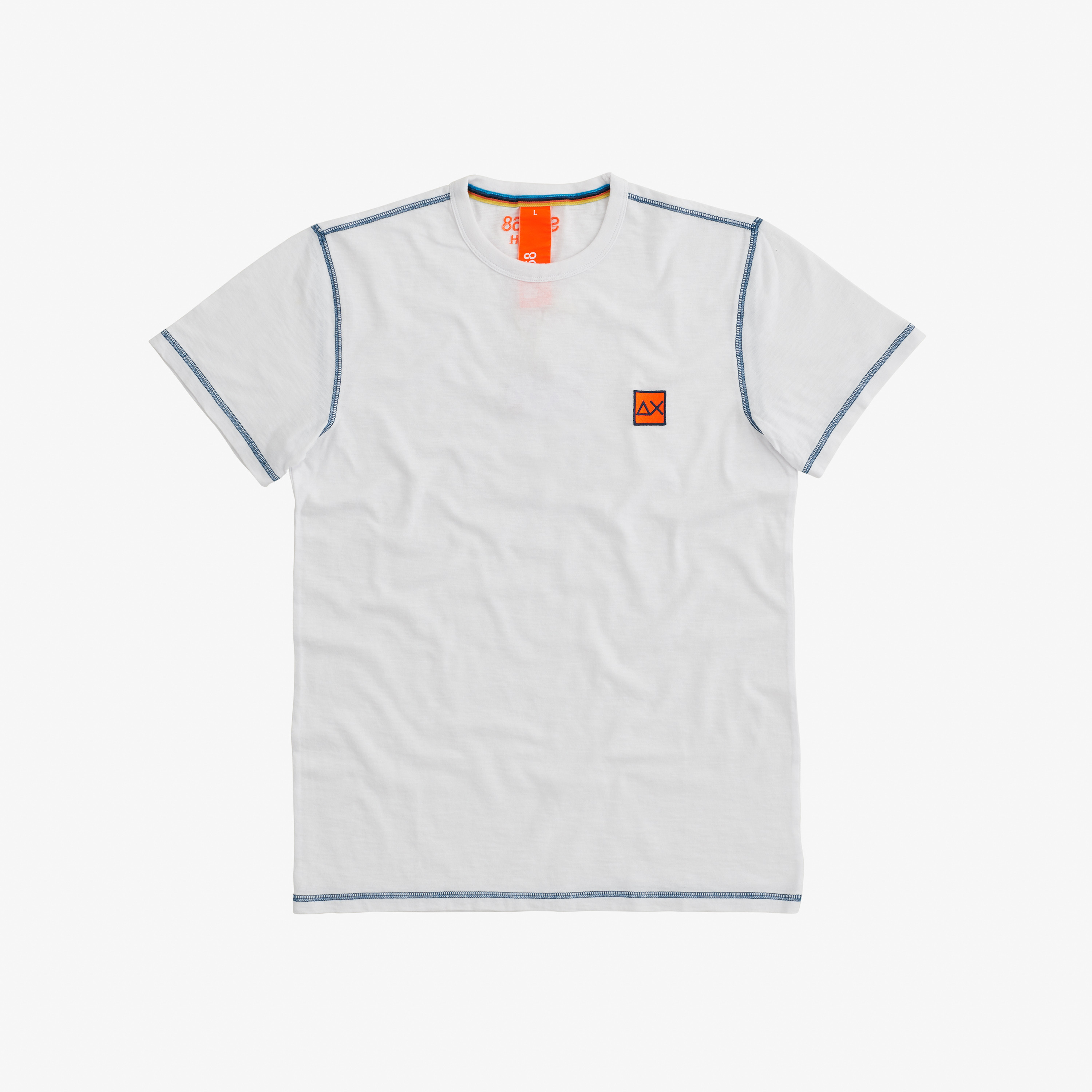 T-SHIRT COLD DYE CONTRAST STITCHING WHITE