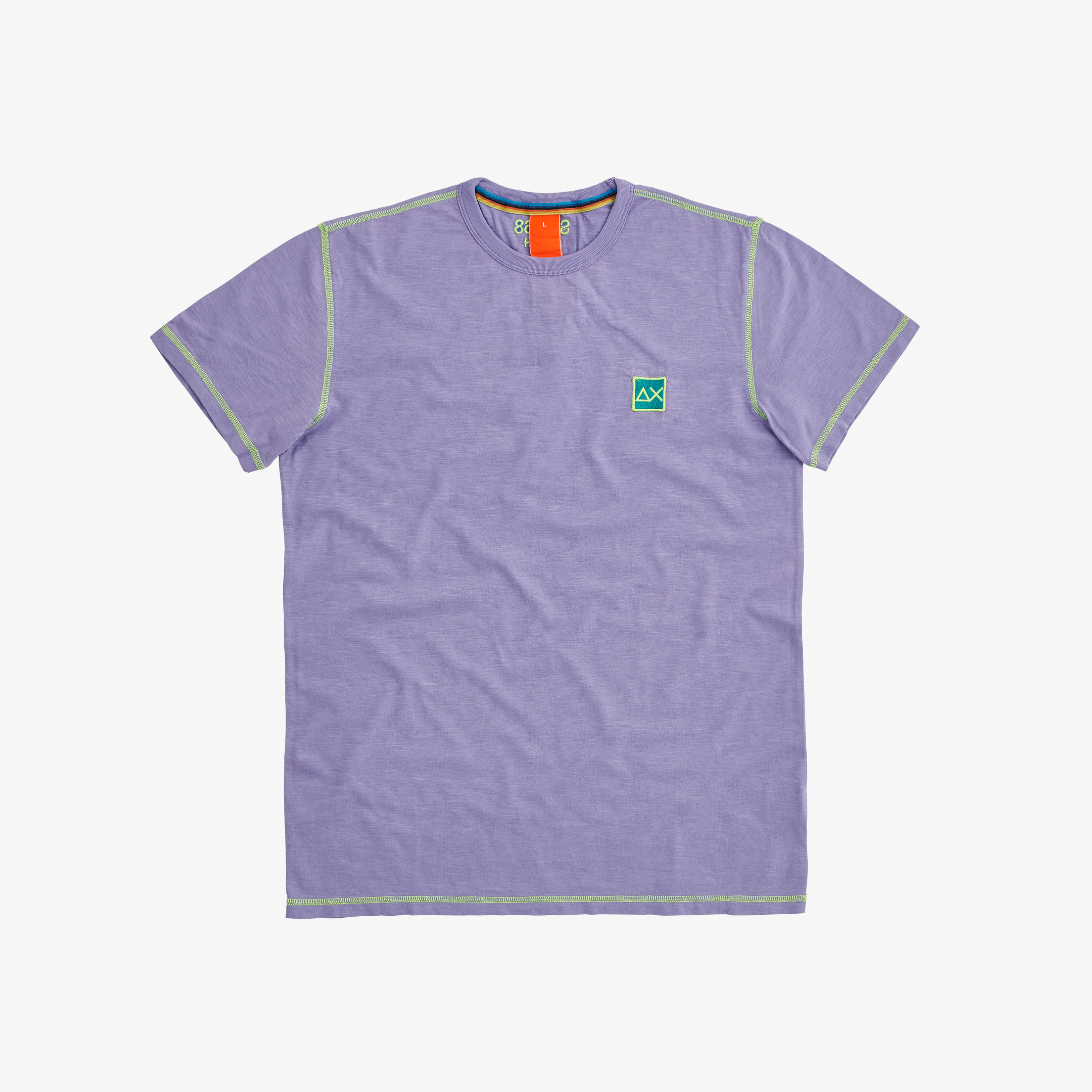 T-SHIRT COLD DYE CONTRAST STITCHING LAVENDER