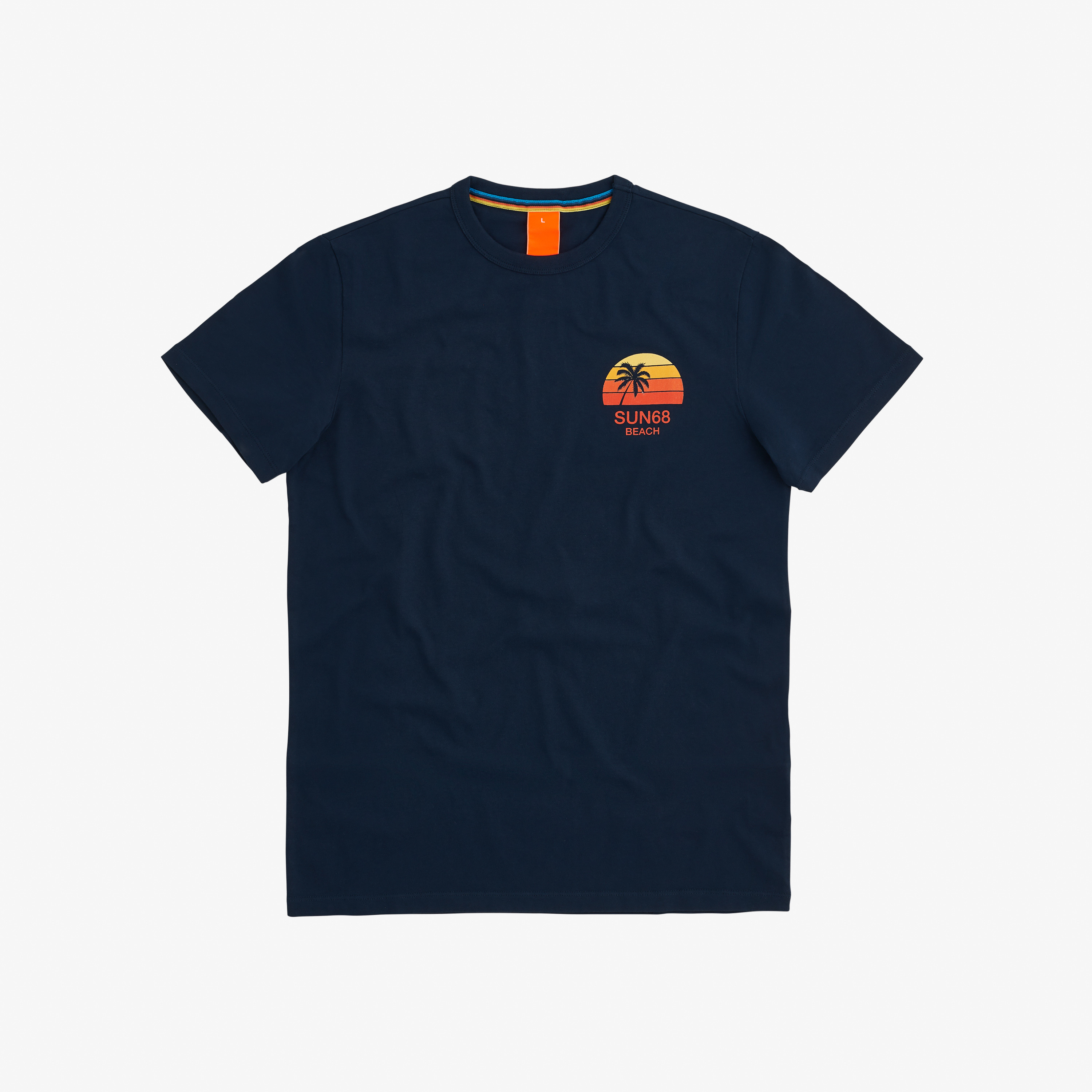 T-SHIRT BIG LOGO PRINT ON CHEST NAVY BLUE