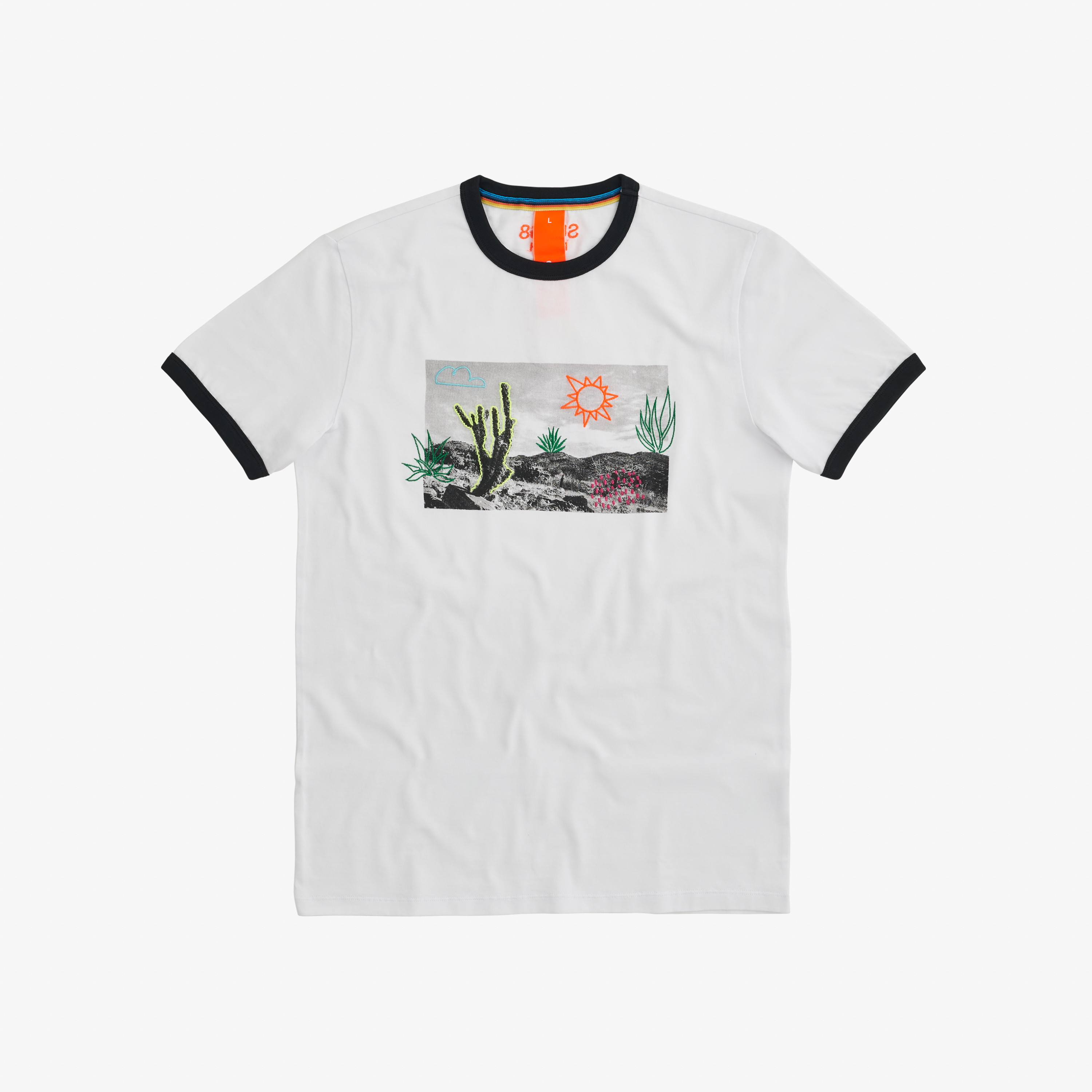 T-SHIRT FANCY PRINT BIANCO / NERO