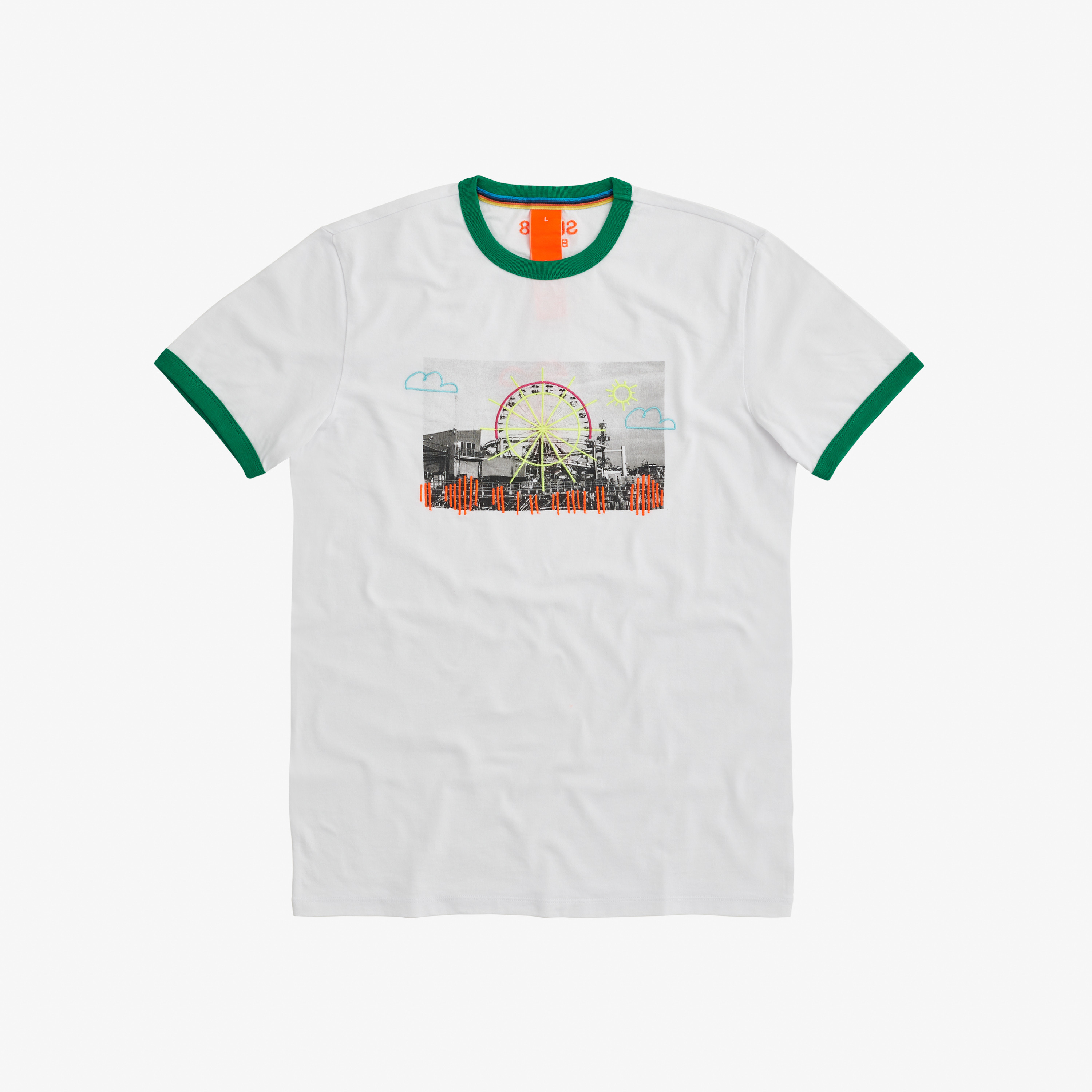 T-SHIRT FANCY PRINT WHITE/GARDEN GREEN