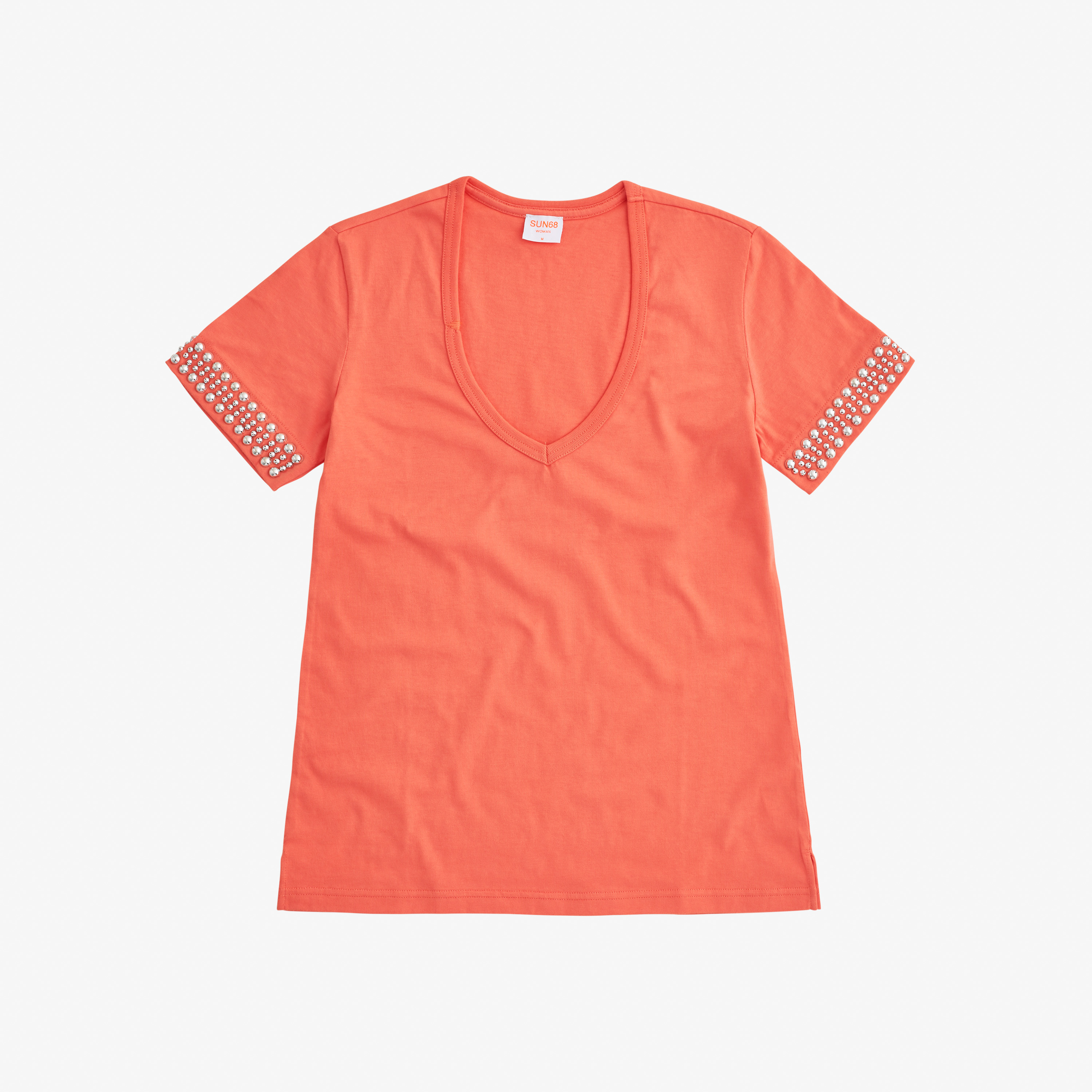 T-SHIRT V NECK STUDS S/S CORAL