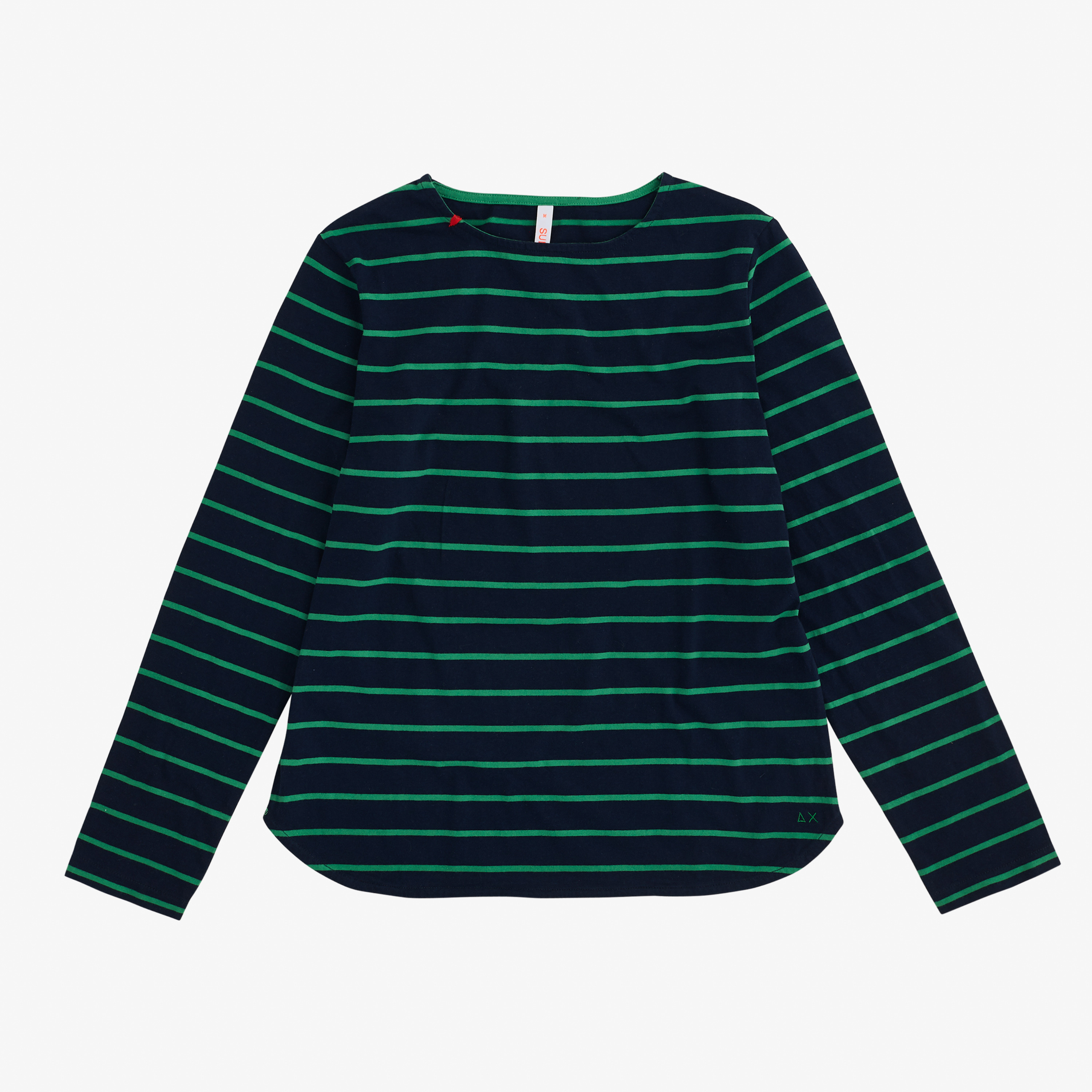 ROUND T-SHIRT STRIPES L/S NAVY BLUE/VERDE PRATO