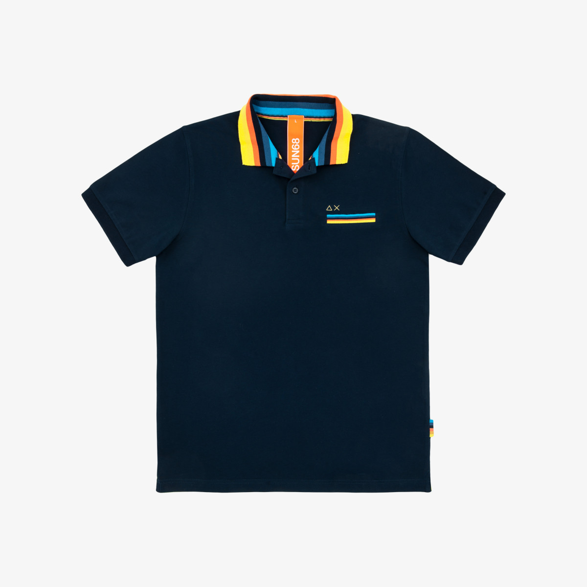 POLO STRIPES ON COLLAR EL. NAVY BLUE