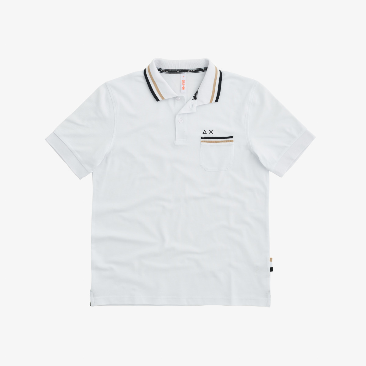 POLO 3 STRIPES ON COLLAR EL. WHITE