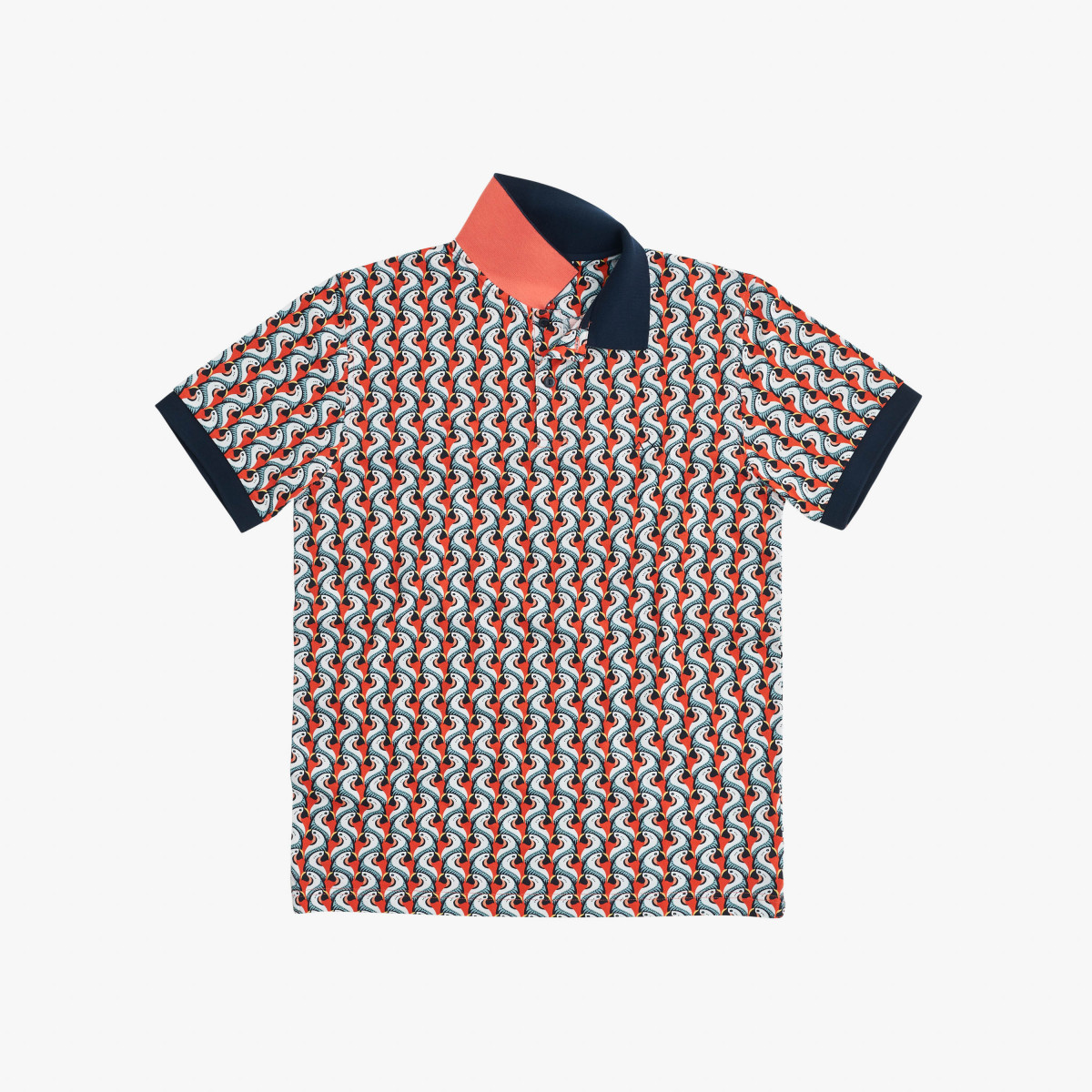 POLO FULL PRINT EL. CORAL/WHITE