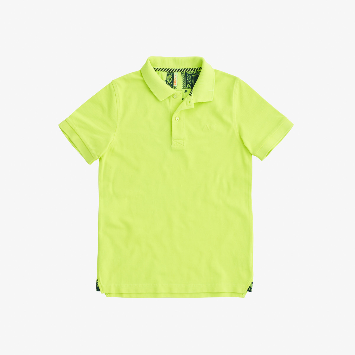BOY'S POLO COLD DYE DETAILS EL. YELLOW FLUO